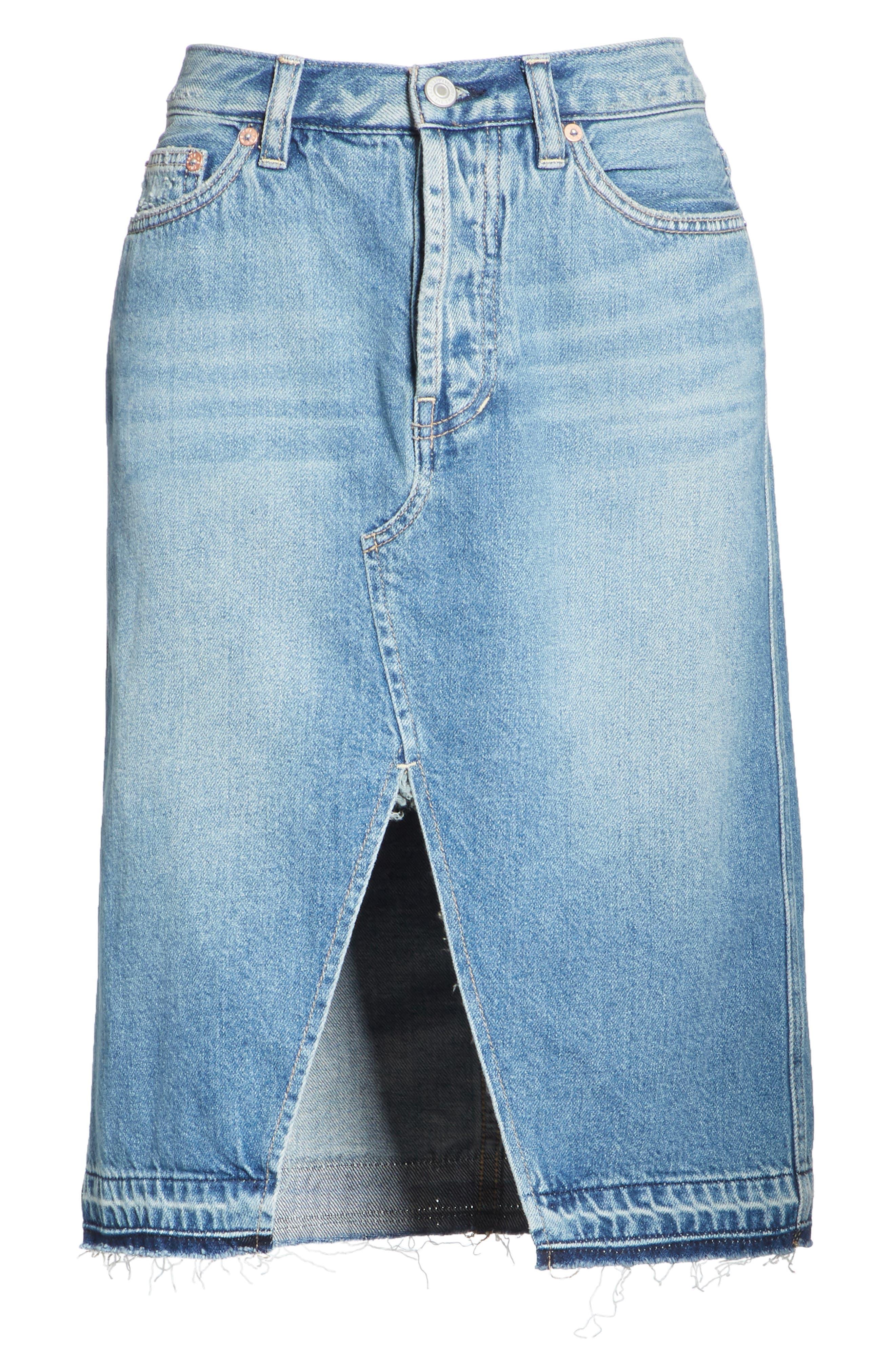 Front Slit Denim Skirt,                             Alternate thumbnail 6, color,                             Blue