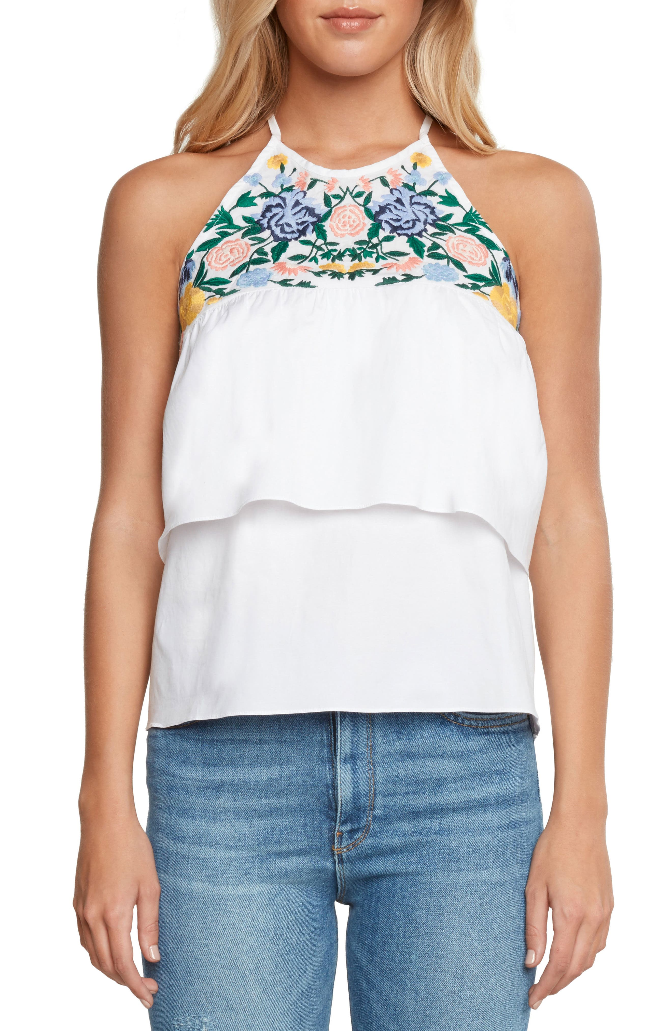 Embroidered Ruffle Top,                         Main,                         color, Vellum
