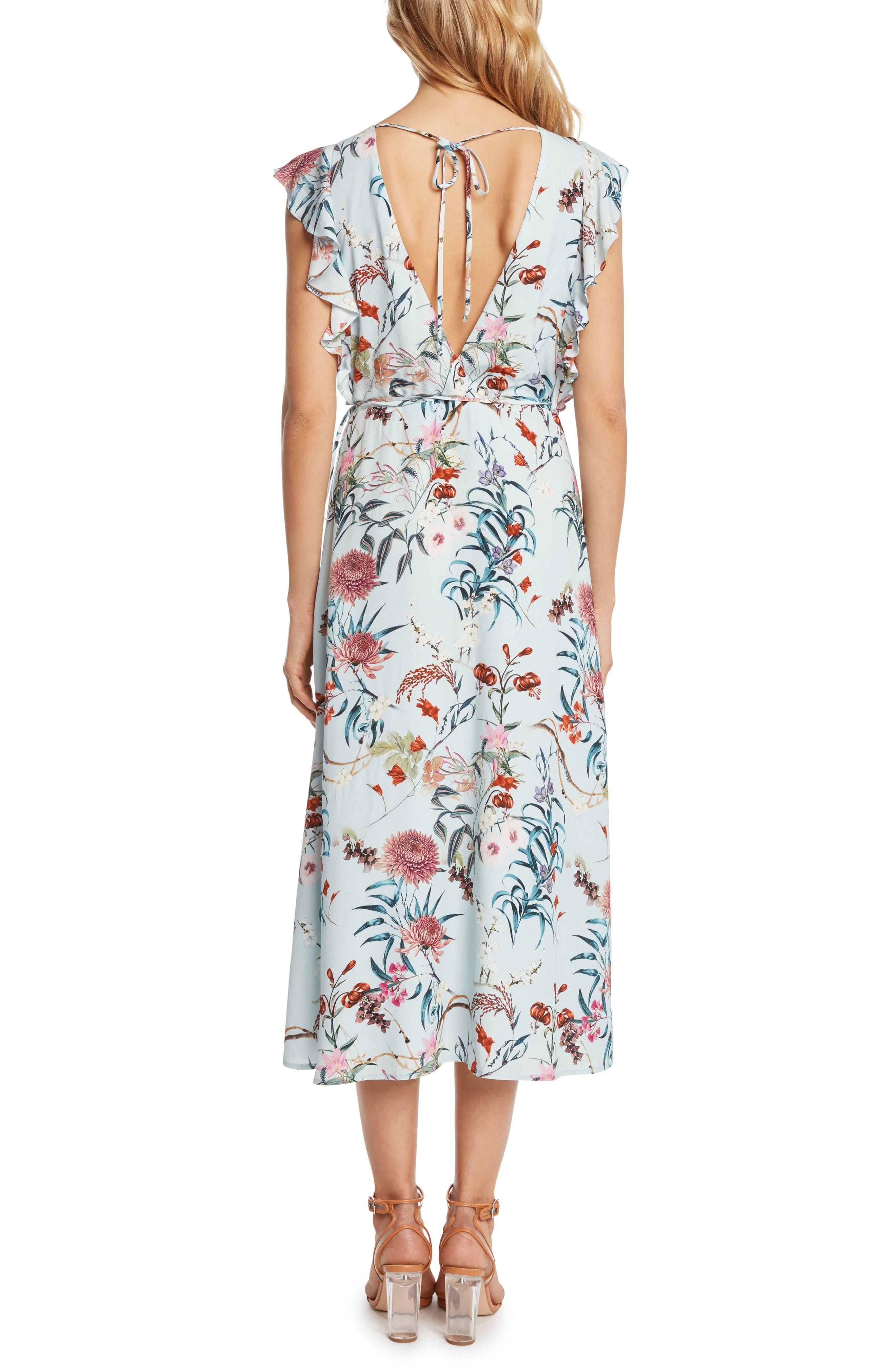 Print Wrap Midi Dress,                             Alternate thumbnail 2, color,                             Mint