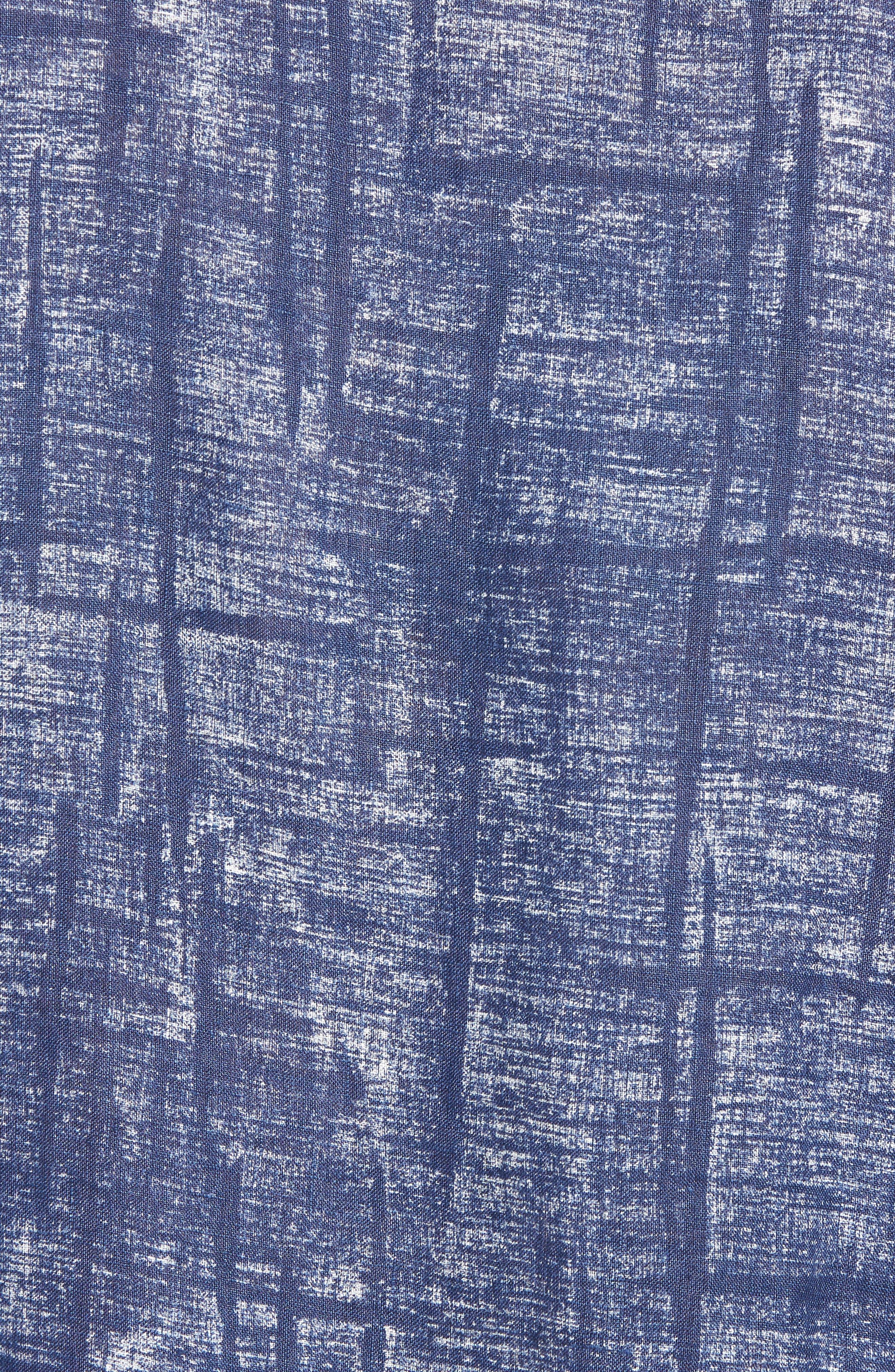 Shaped Fit Linen Sport Shirt,                             Alternate thumbnail 5, color,                             Navy
