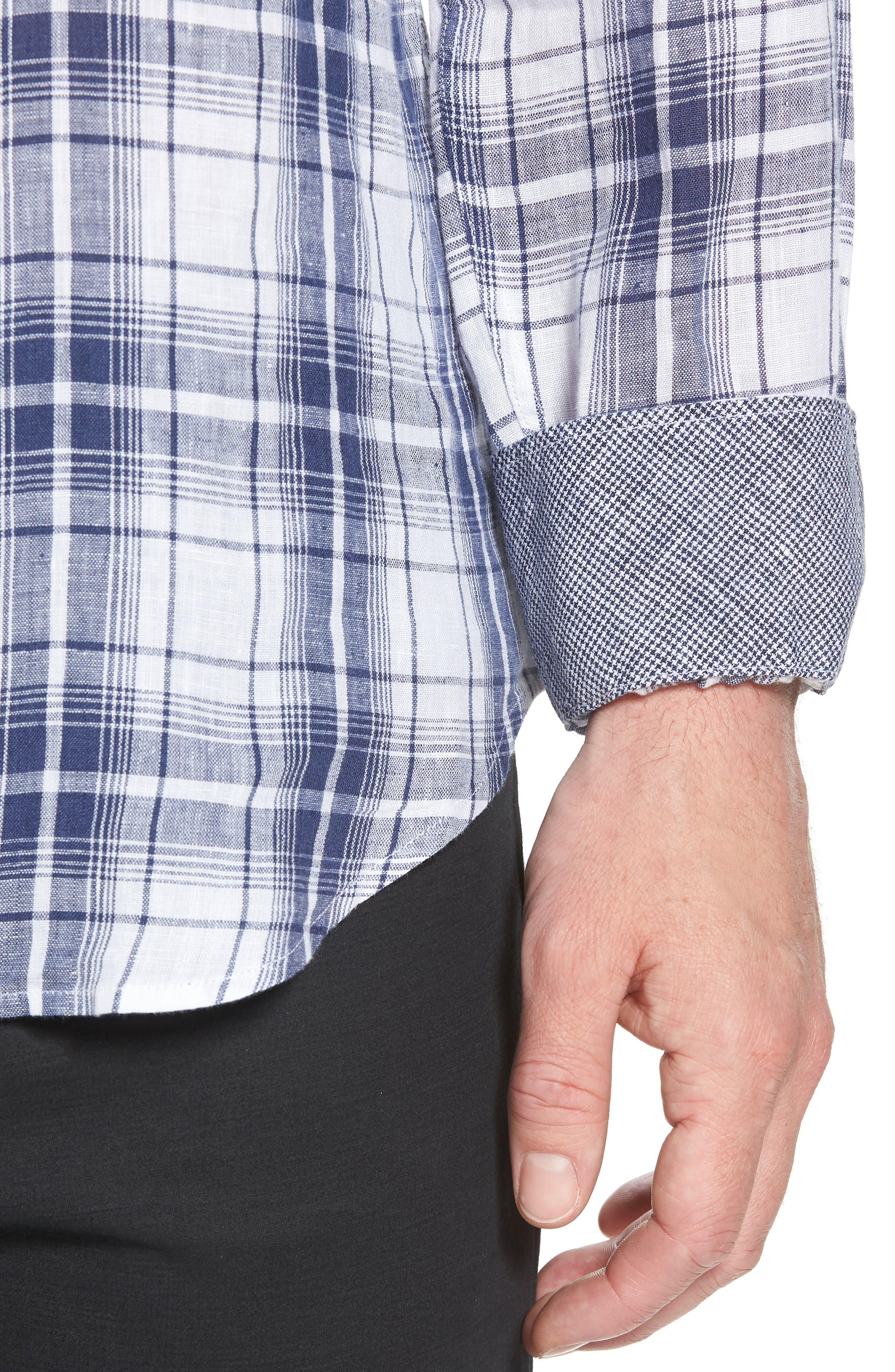 Shaped Fit Plaid Linen Sport Shirt,                             Alternate thumbnail 2, color,                             Navy
