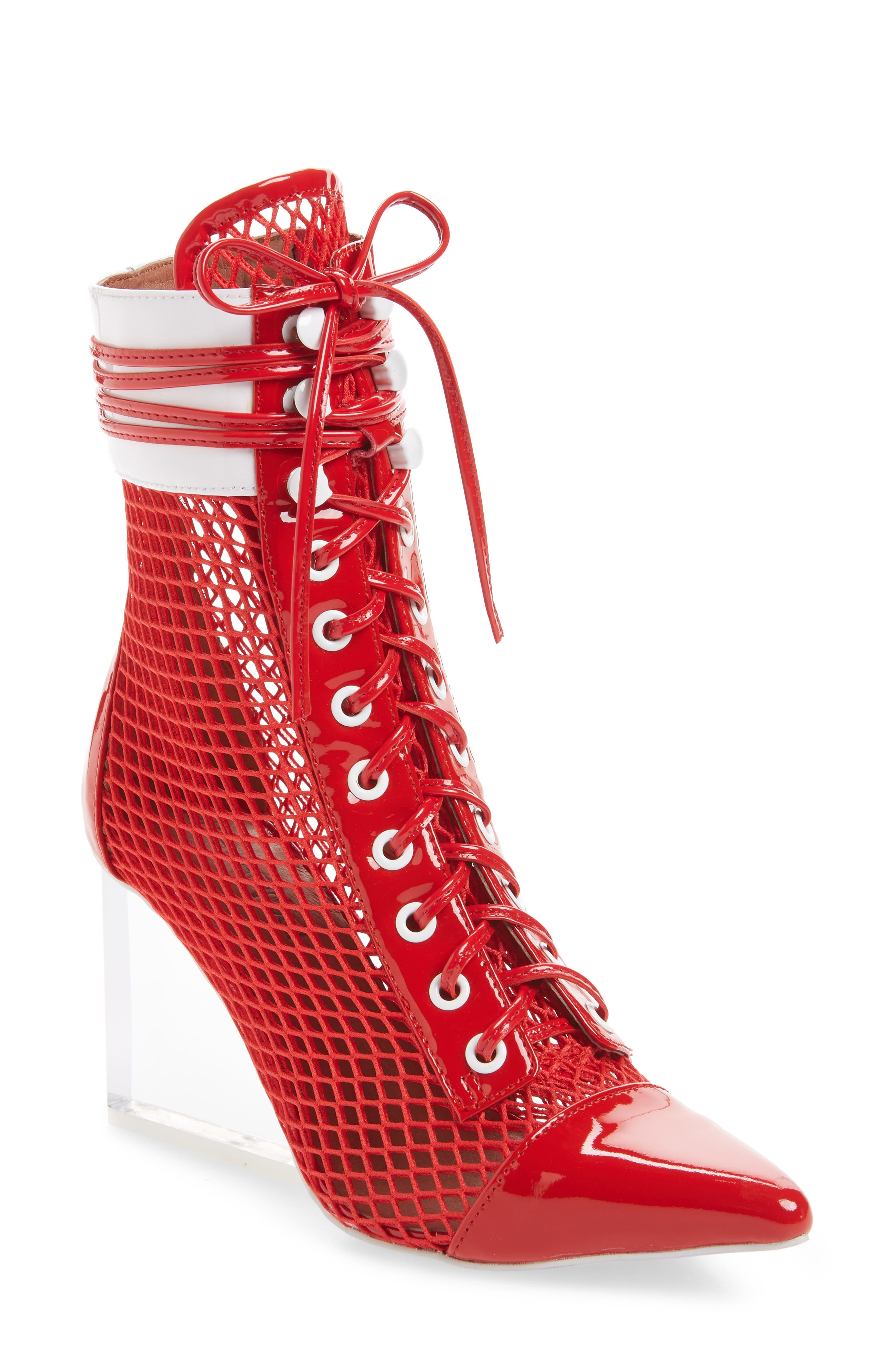 Cardi Mesh Bootie,                             Main thumbnail 1, color,                             Red/ White/ Clear