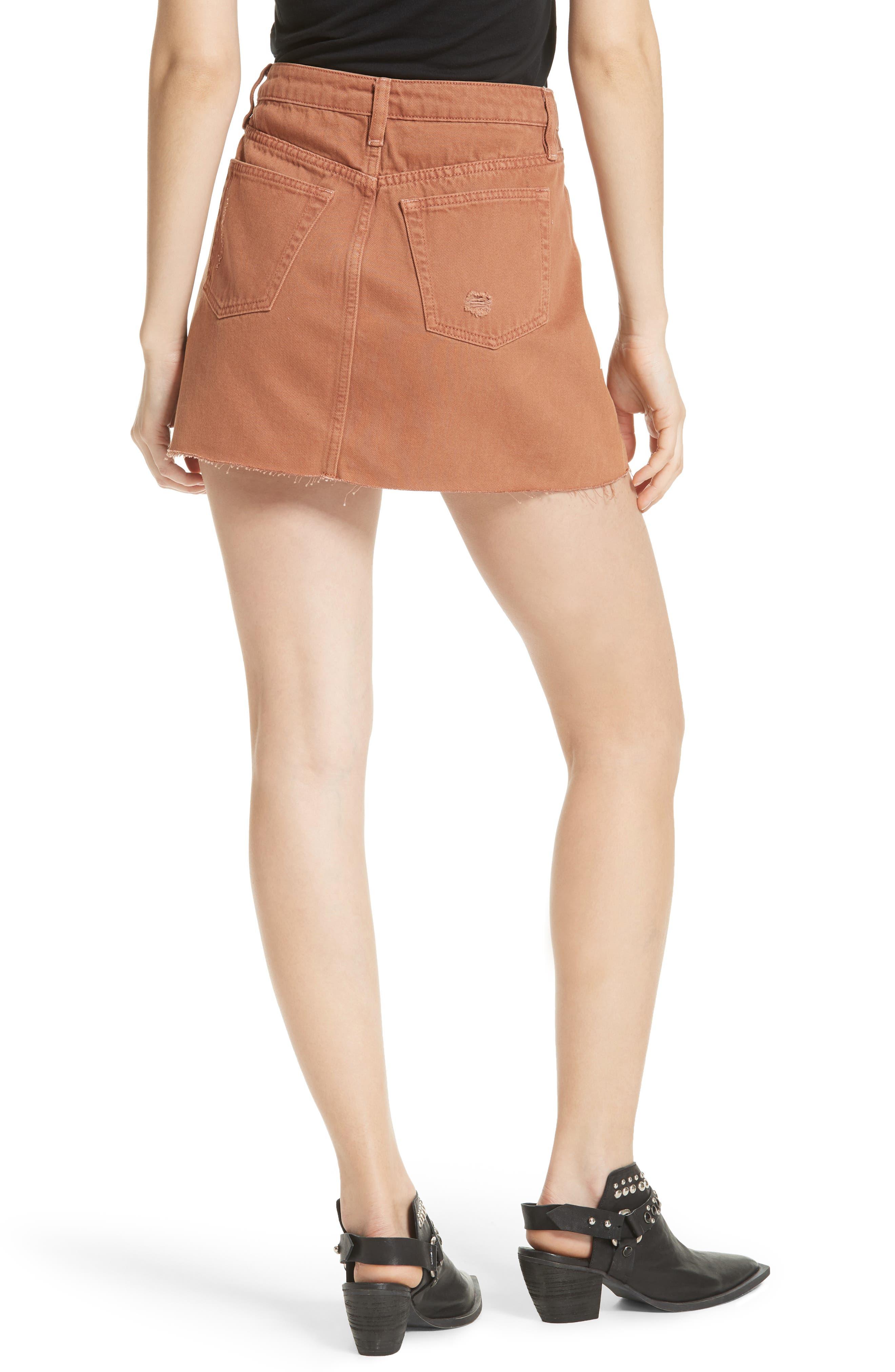 Denim A-Line Skirt,                             Alternate thumbnail 2, color,                             Bronze