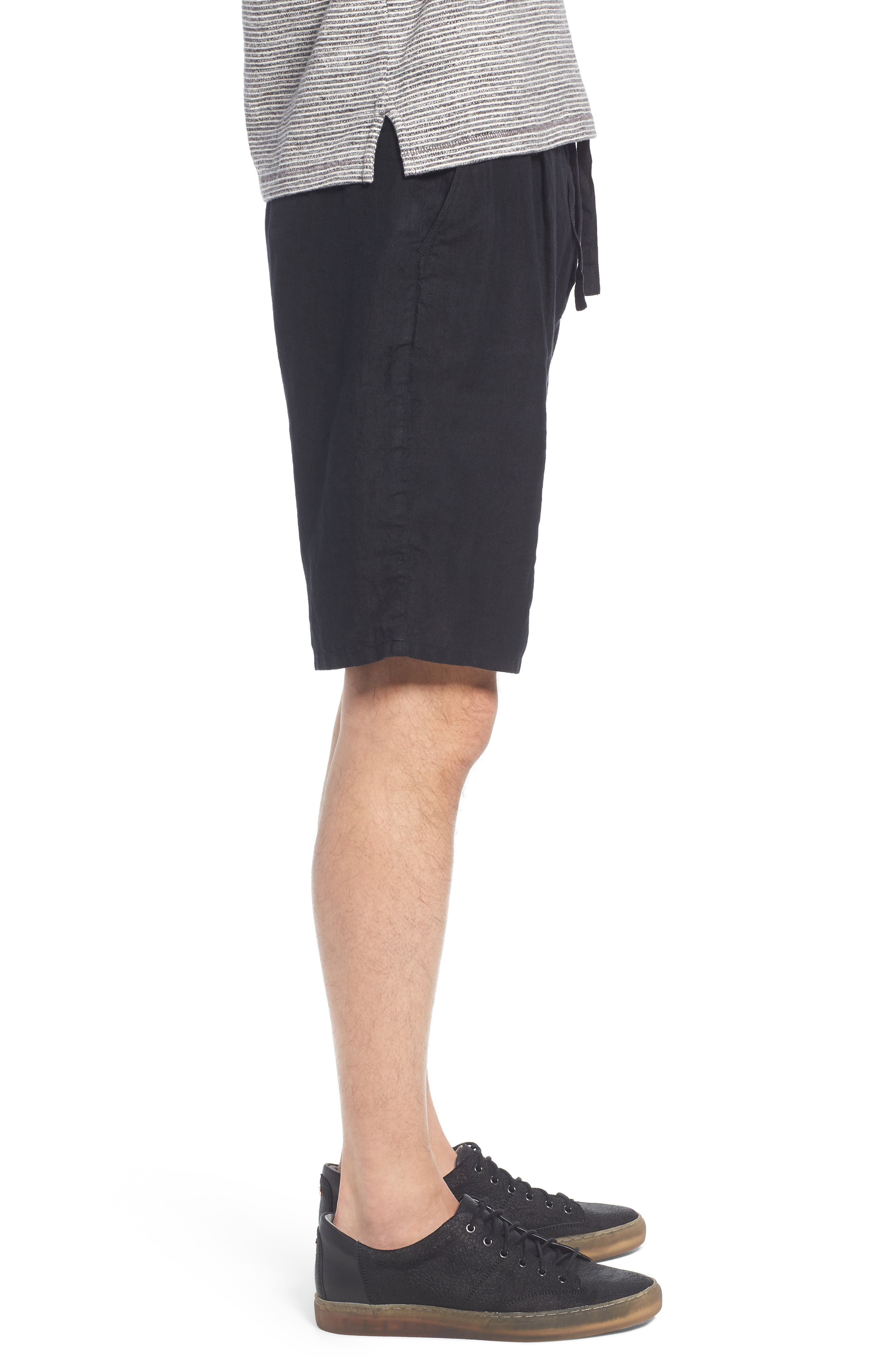 Pleat Tie Waist Linen Shorts,                             Alternate thumbnail 3, color,                             Black