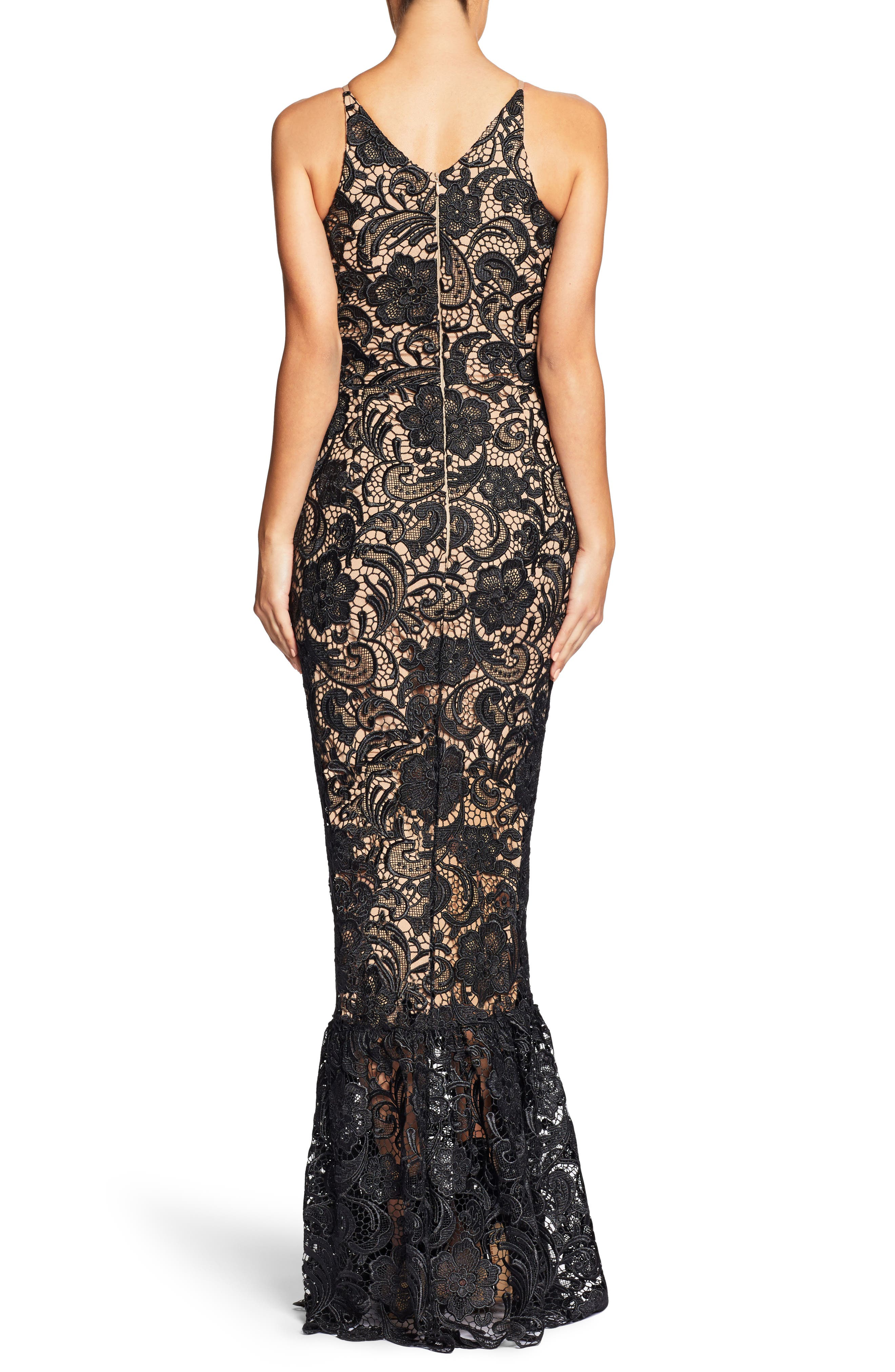 Sophia Crochet Lace Mermaid Gown,                             Alternate thumbnail 2, color,                             Black/ Nude