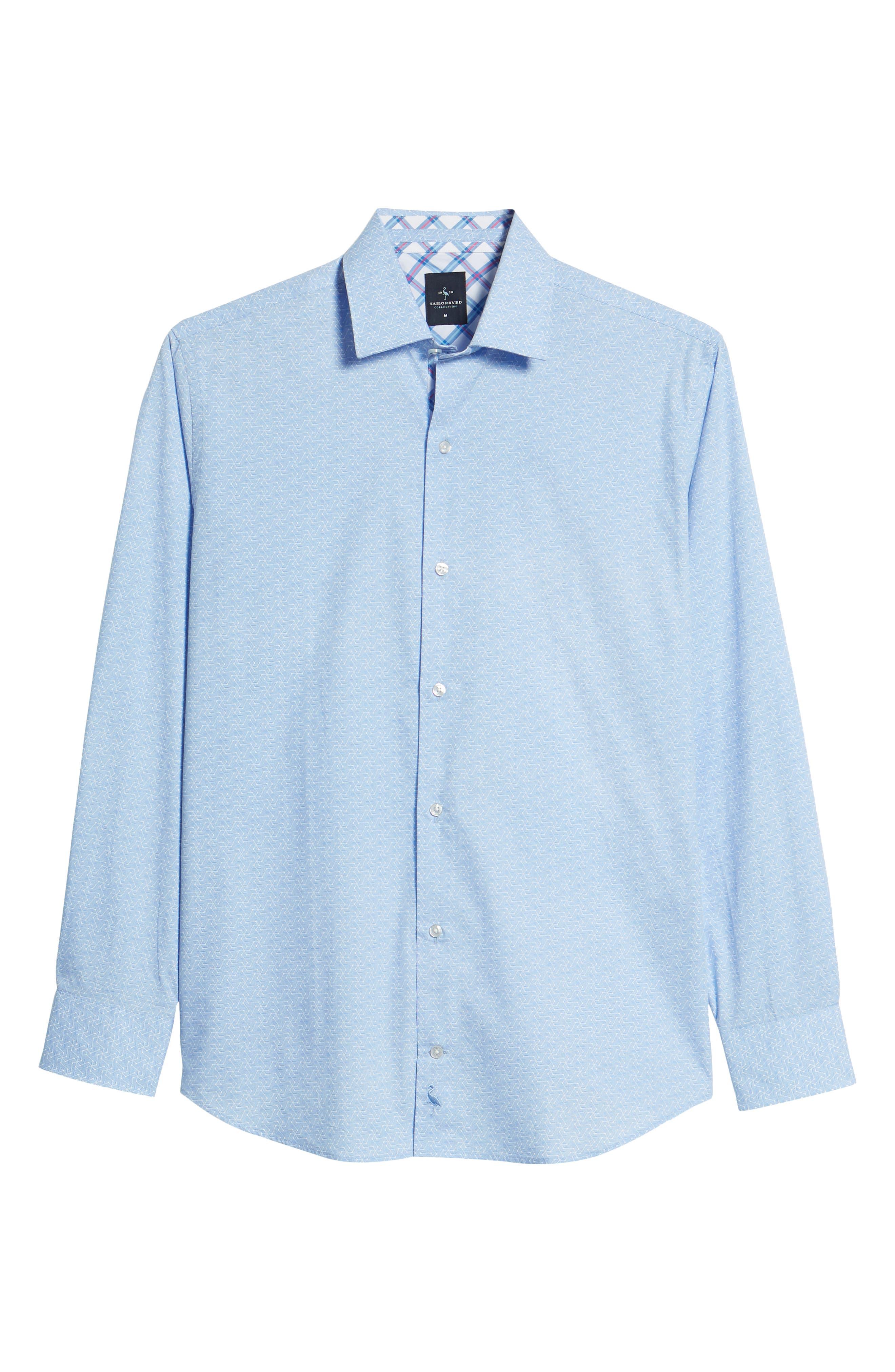 Beckham Regular Fit Plaid Sport Shirt,                             Alternate thumbnail 6, color,                             Light Blue