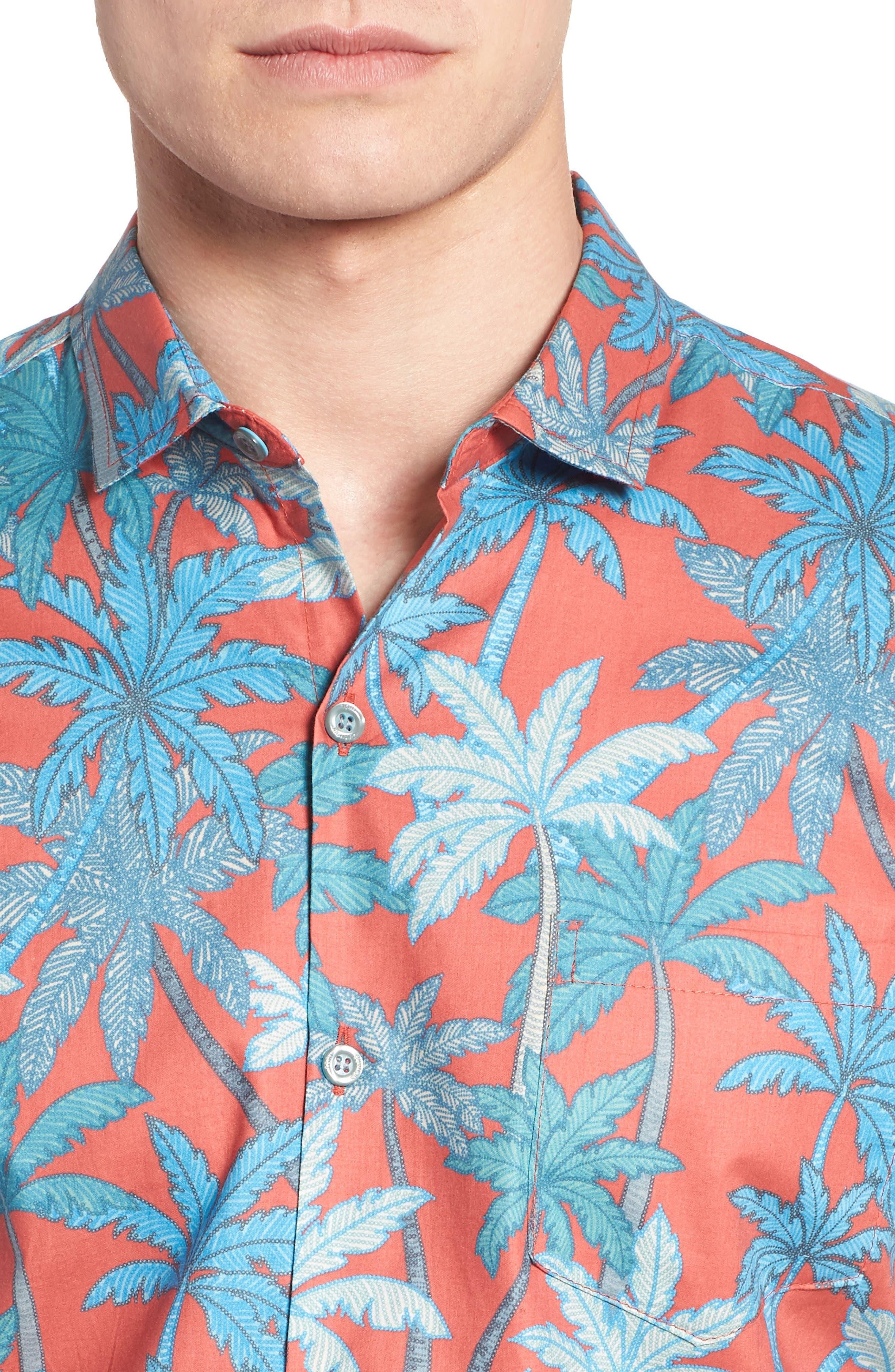 Pick a Palm Trim Fit Camp Shirt,                             Alternate thumbnail 2, color,                             Guava