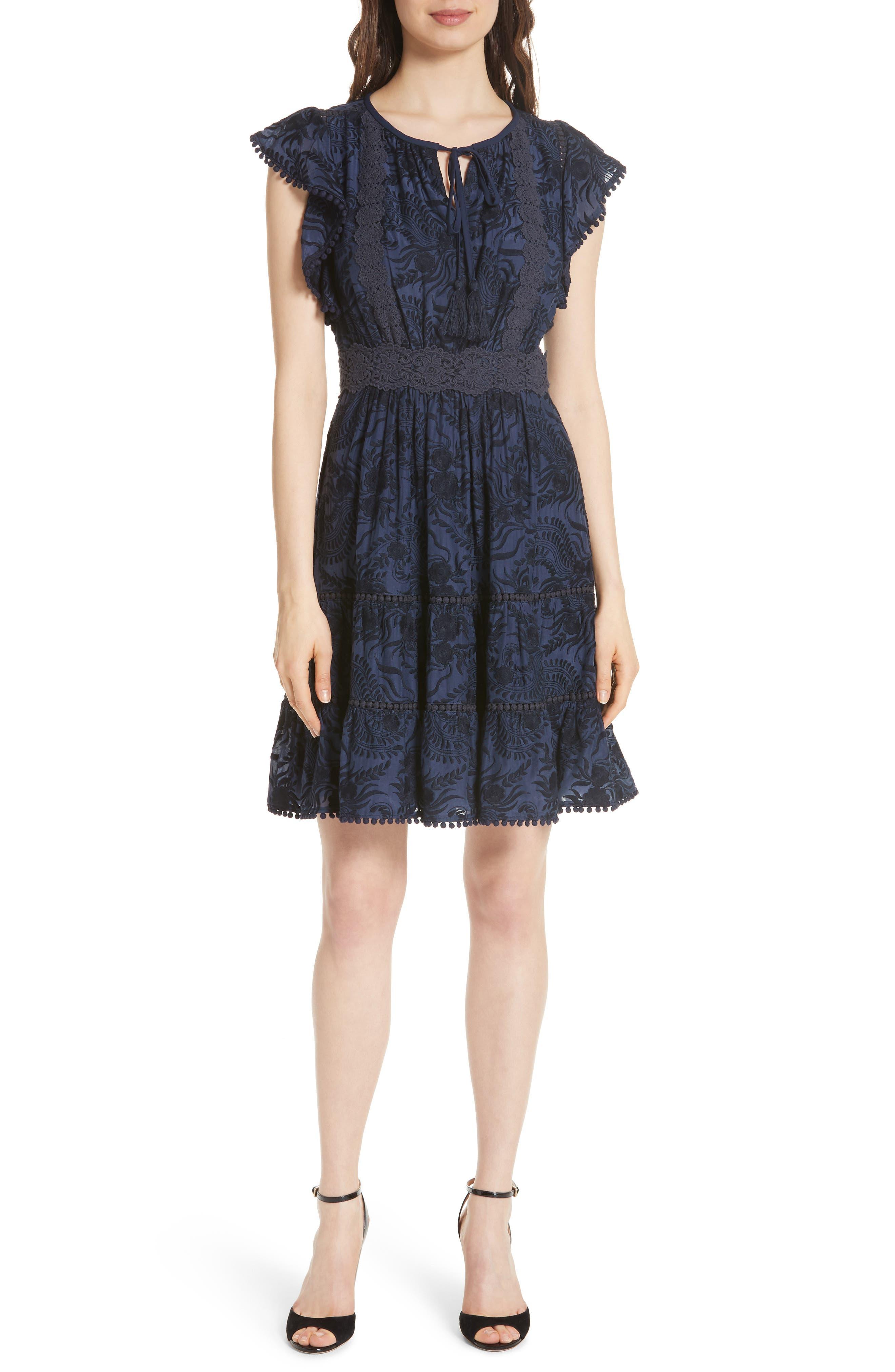 jenette cotton silk fit & flare dress,                         Main,                         color, Rich Navy