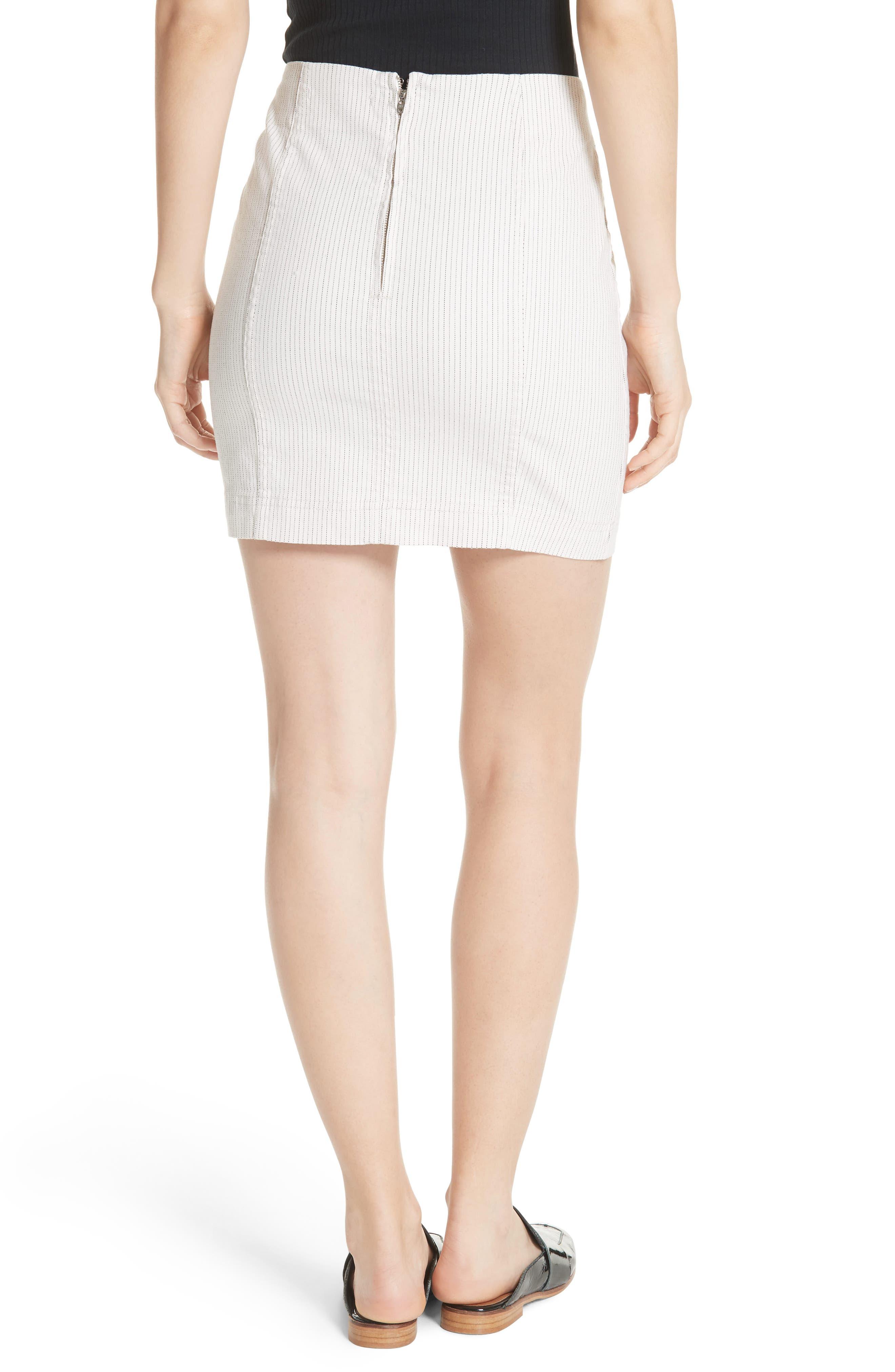 Modern Femme Pinstripe Skirt,                             Alternate thumbnail 2, color,                             Black And White Combo