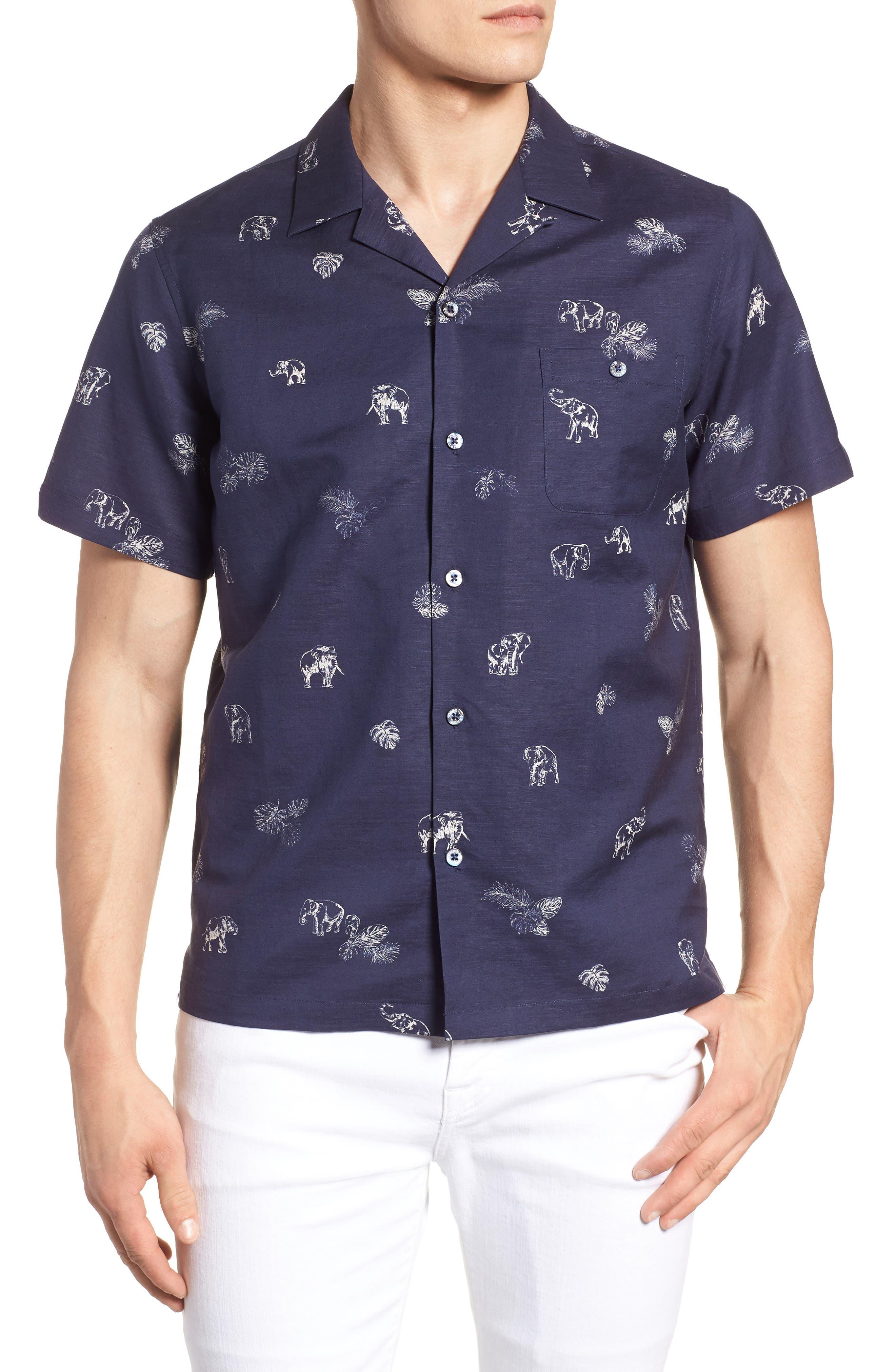 Sanctuary Trim Fit Linen & Cotton Camp Shirt,                         Main,                         color, Navy