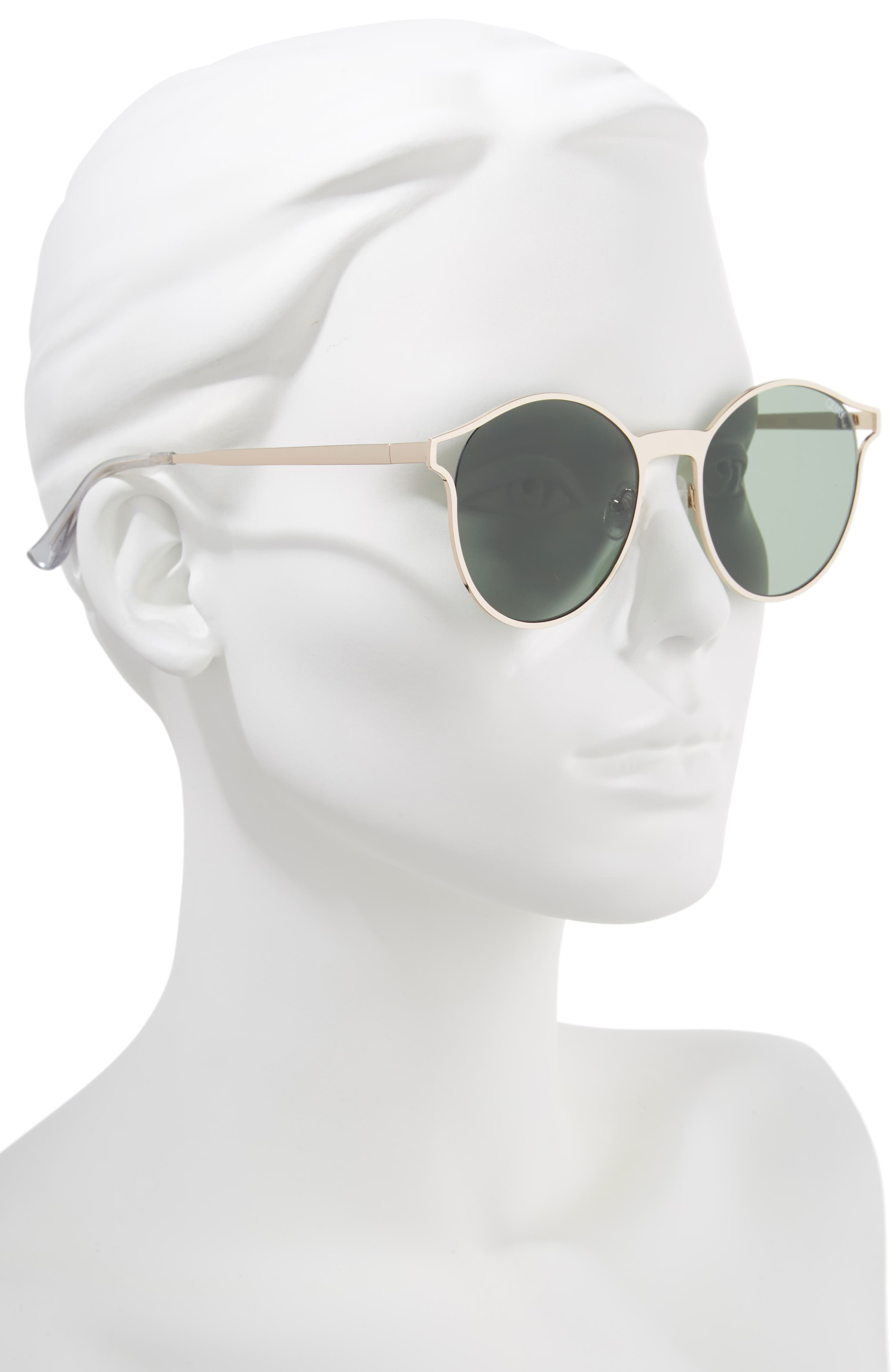 Here We Are 53mm Round Sunglasses,                             Alternate thumbnail 2, color,                             Gold/ Green