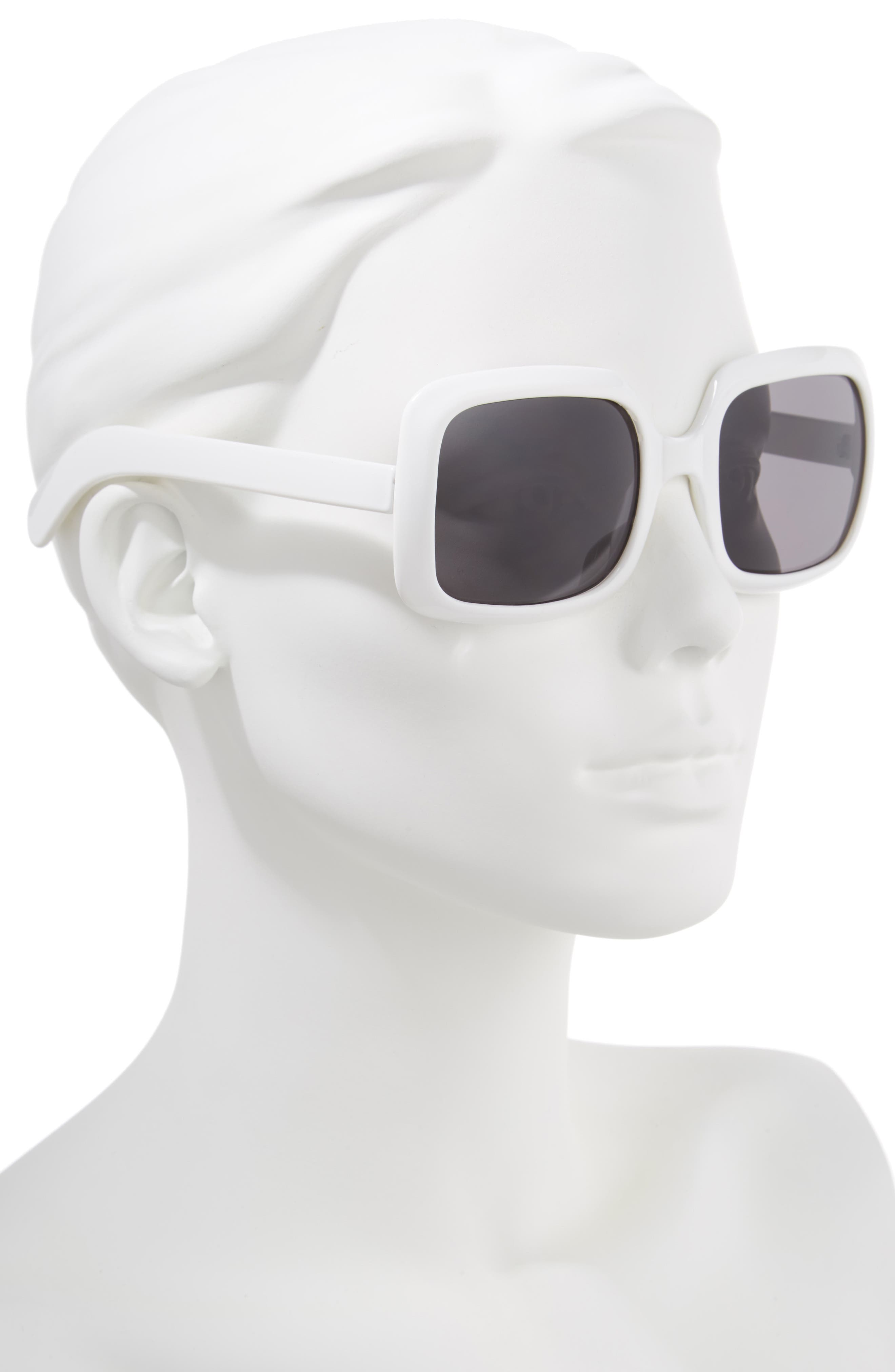 54mm Retro Square Sunglasses,                             Alternate thumbnail 2, color,                             White/ Black