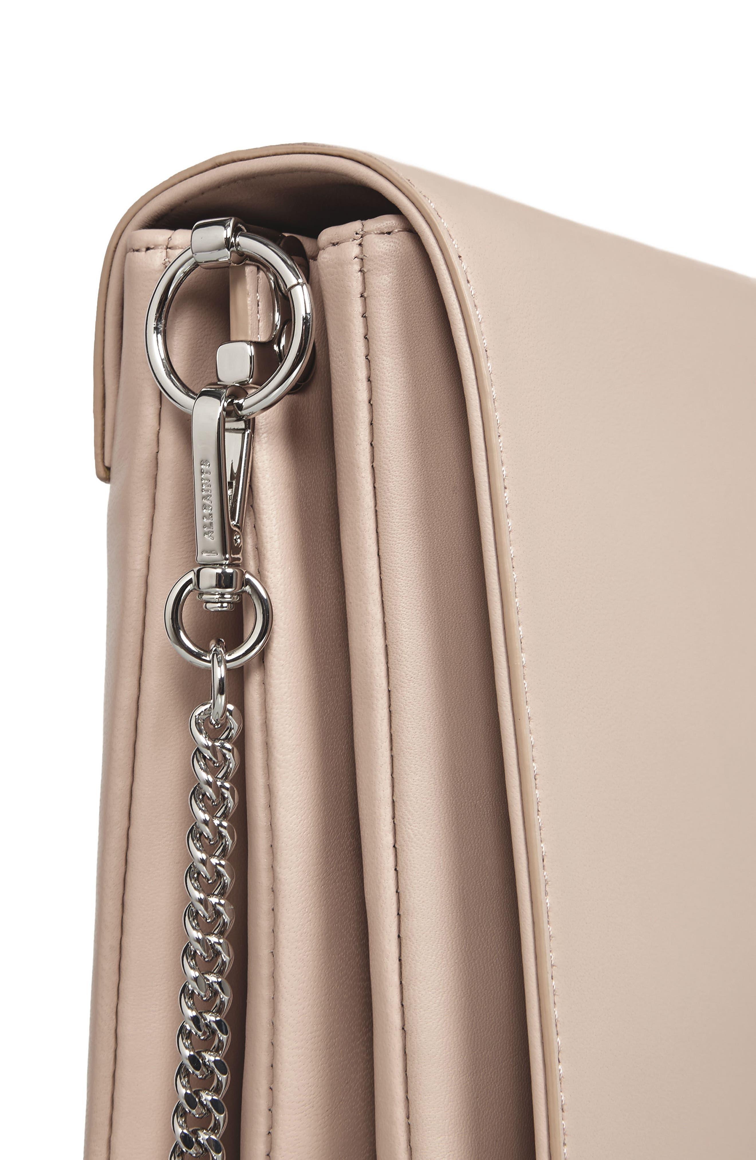 Zep Lambskin Leather Box Bag,                             Alternate thumbnail 5, color,                             Natural