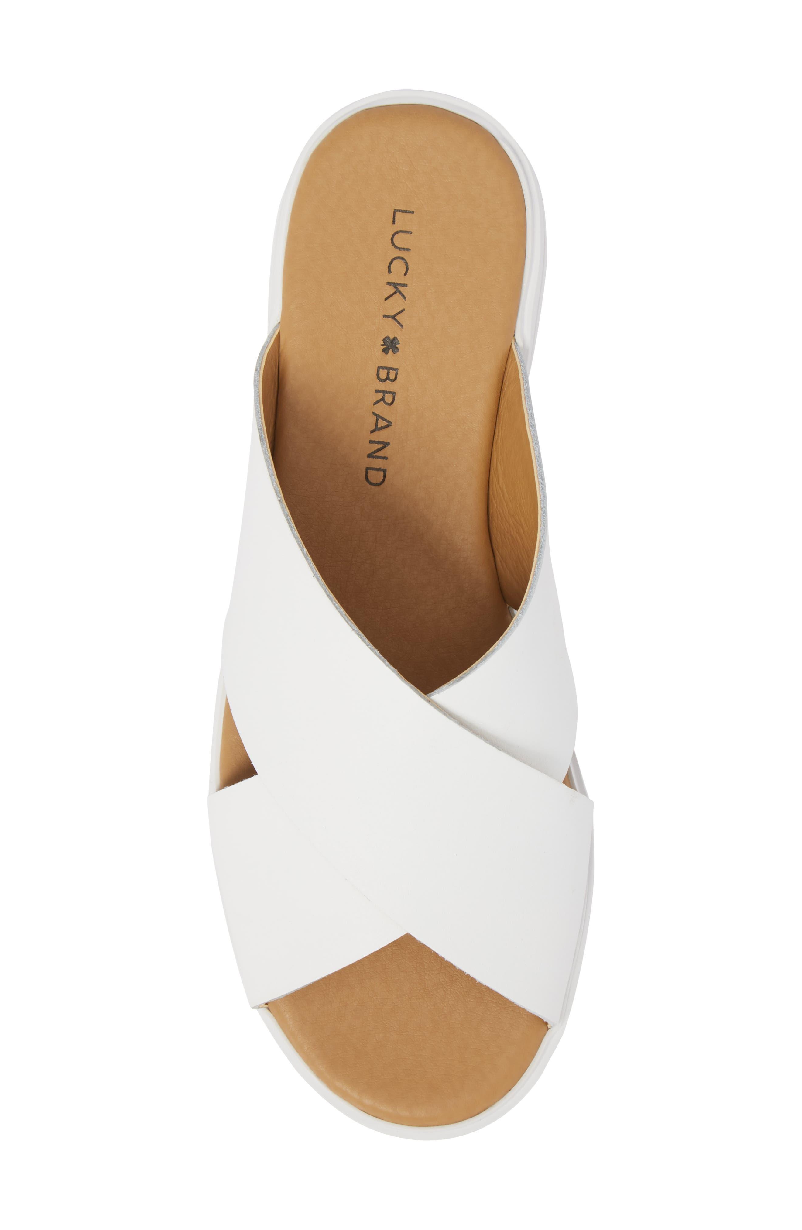 Mahlay Slide Sandal,                             Alternate thumbnail 5, color,                             Optic White Leather