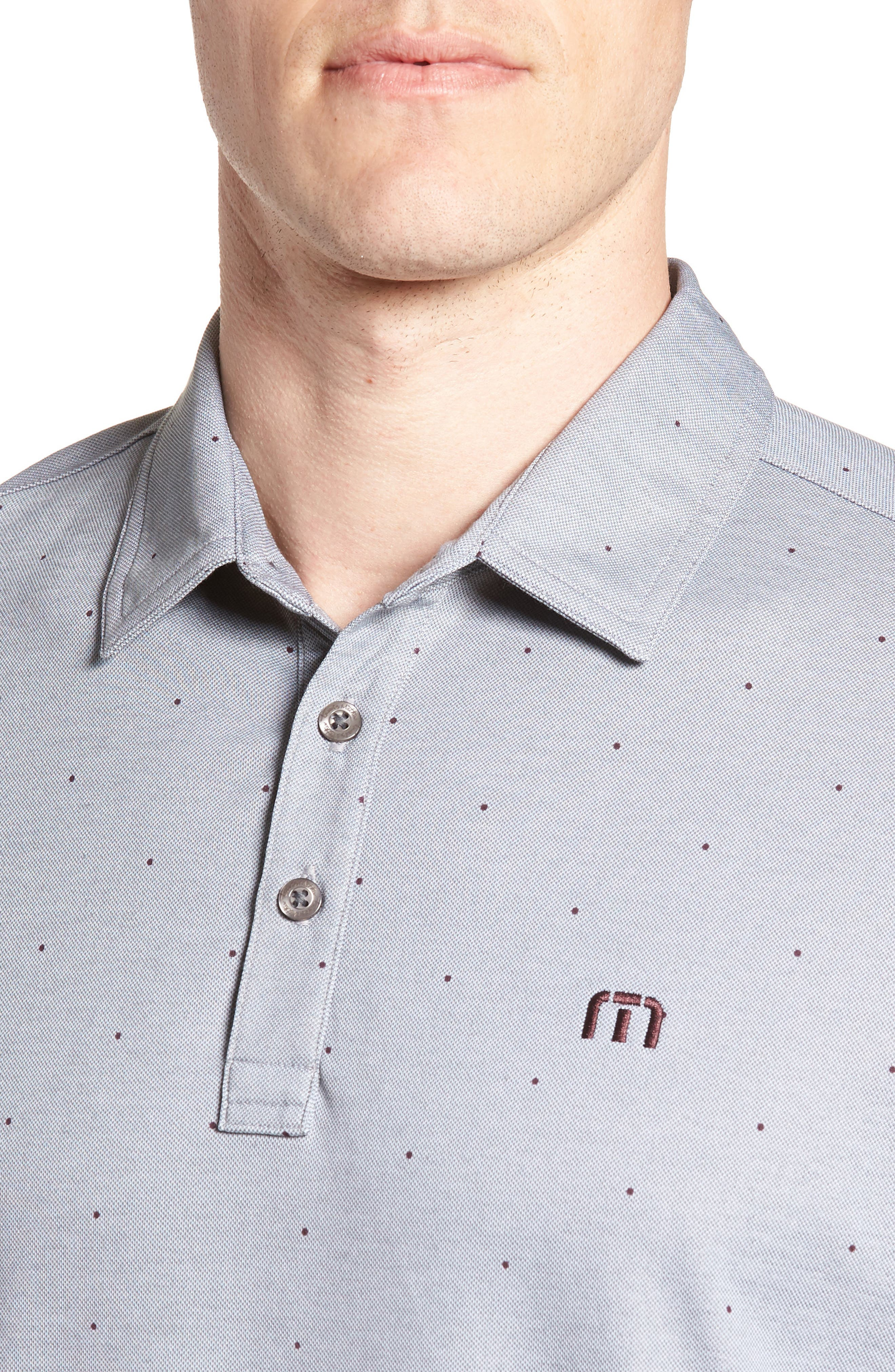 'JJ's Legacy' Trim Fit Polka Dot Polo,                             Alternate thumbnail 4, color,                             Heather Quiet Shade