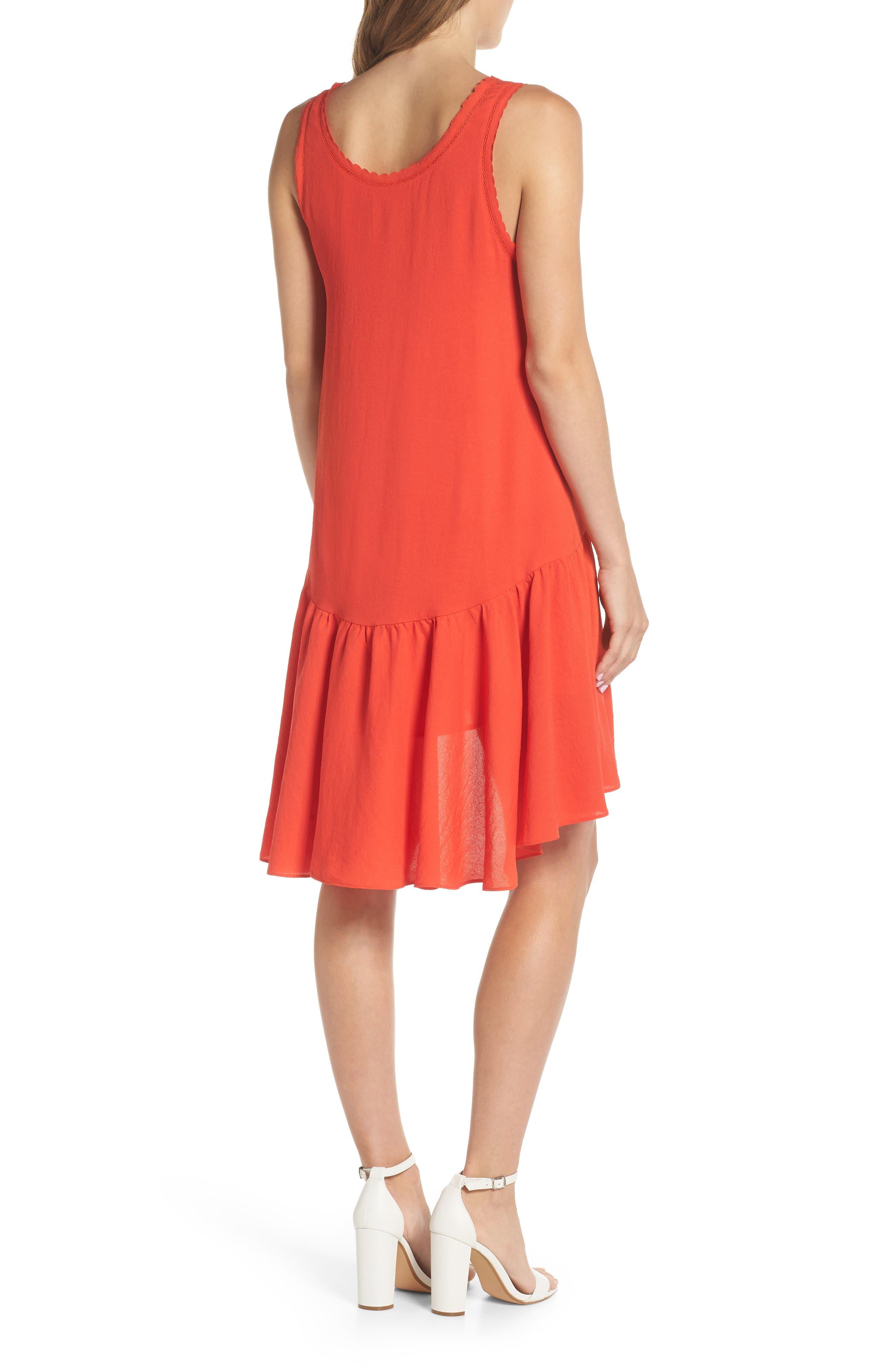 Ruffle Hem Swing Dress,                             Alternate thumbnail 2, color,                             Red Fiery