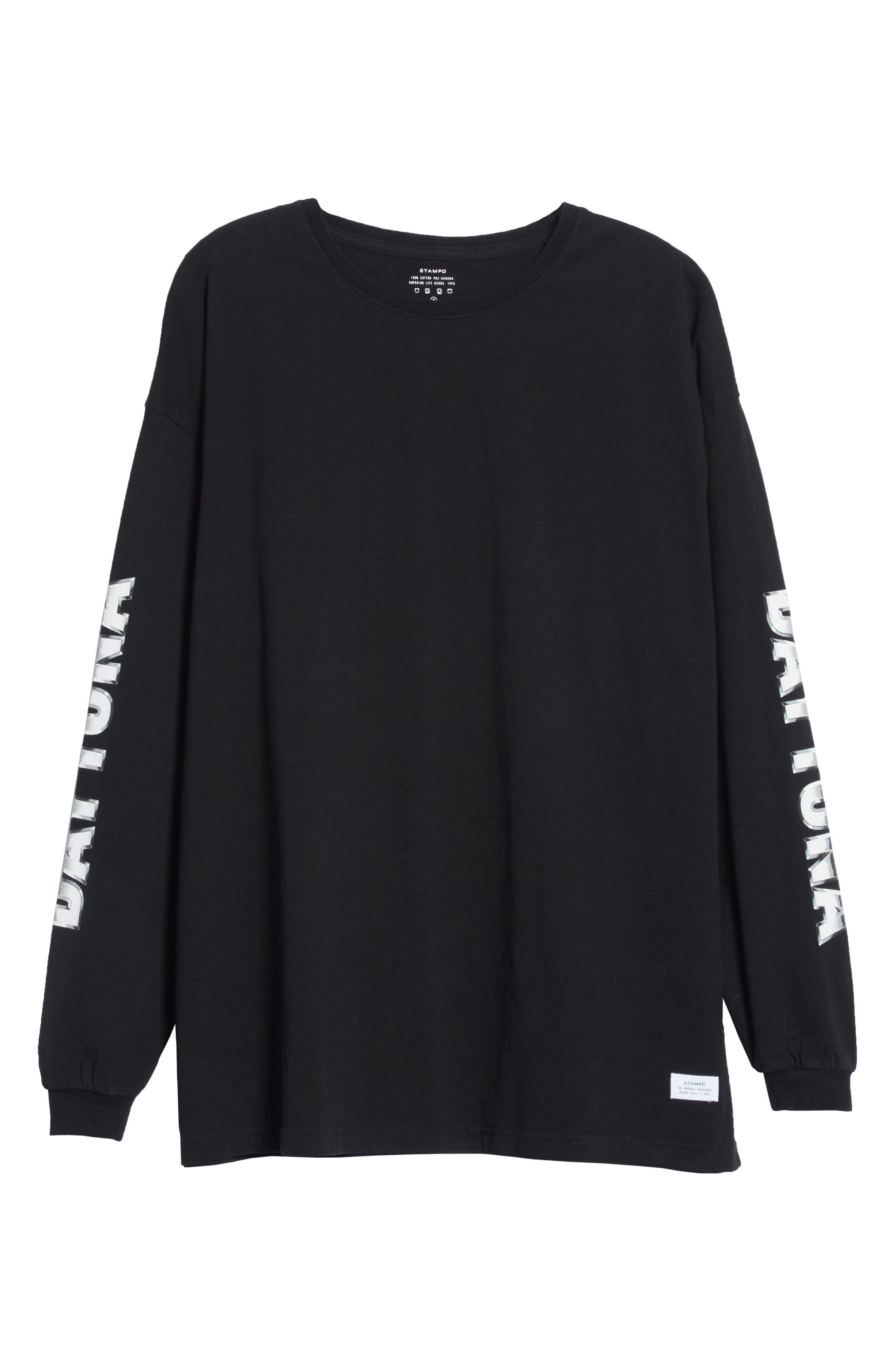 Metal Graphic Long Sleeve T-Shirt,                             Alternate thumbnail 6, color,                             Black