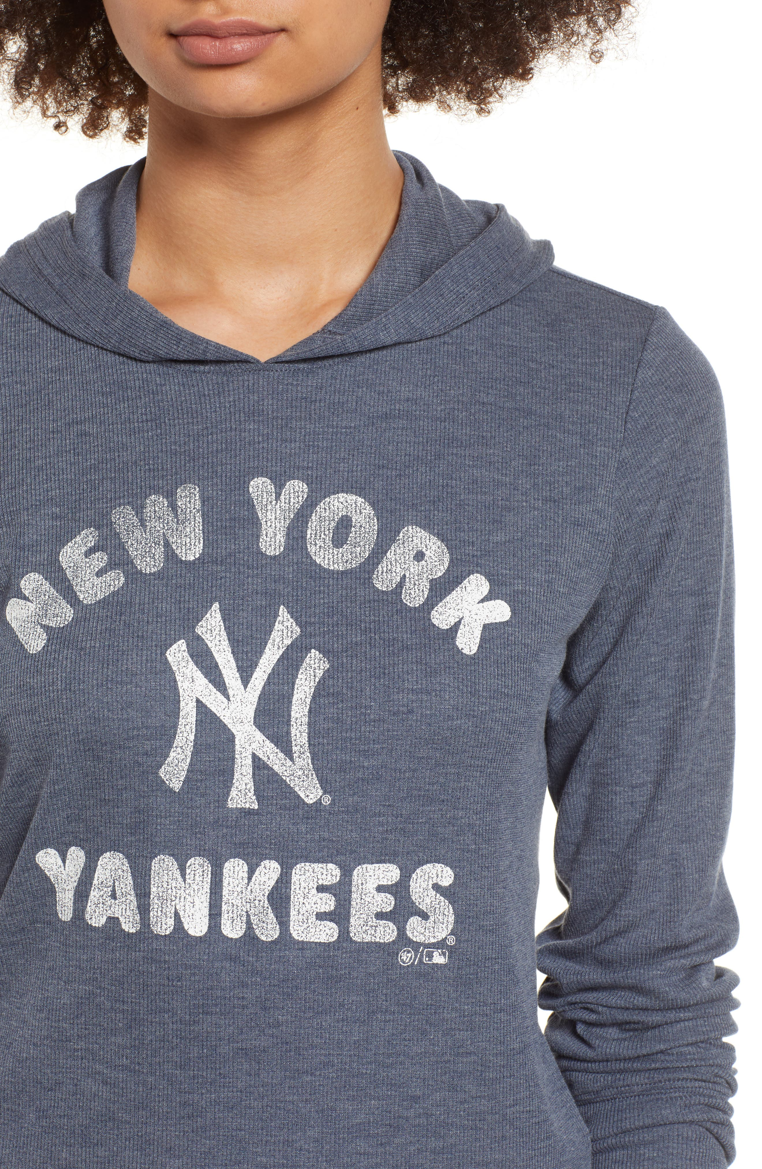 Campbell New York Yankees Rib Knit Hooded Top,                             Alternate thumbnail 4, color,                             Midnight