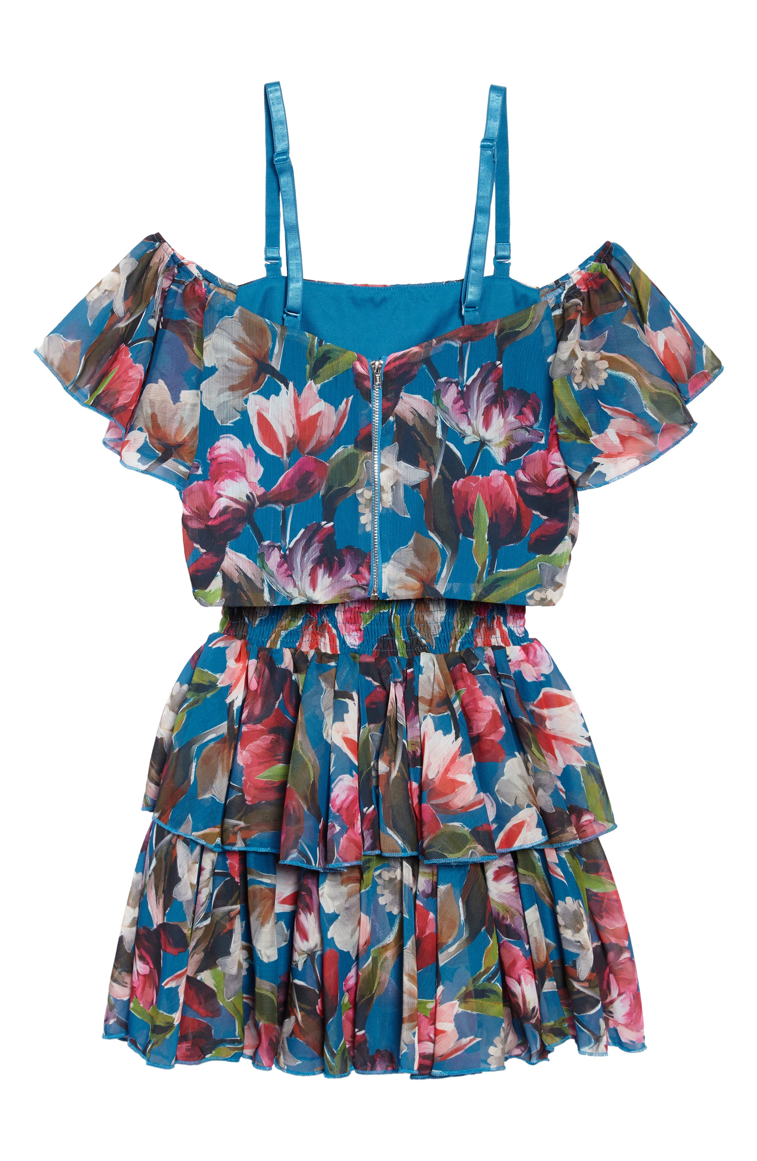 Josephine Two-Piece Ruffle Dress,                             Alternate thumbnail 2, color,                             Teal