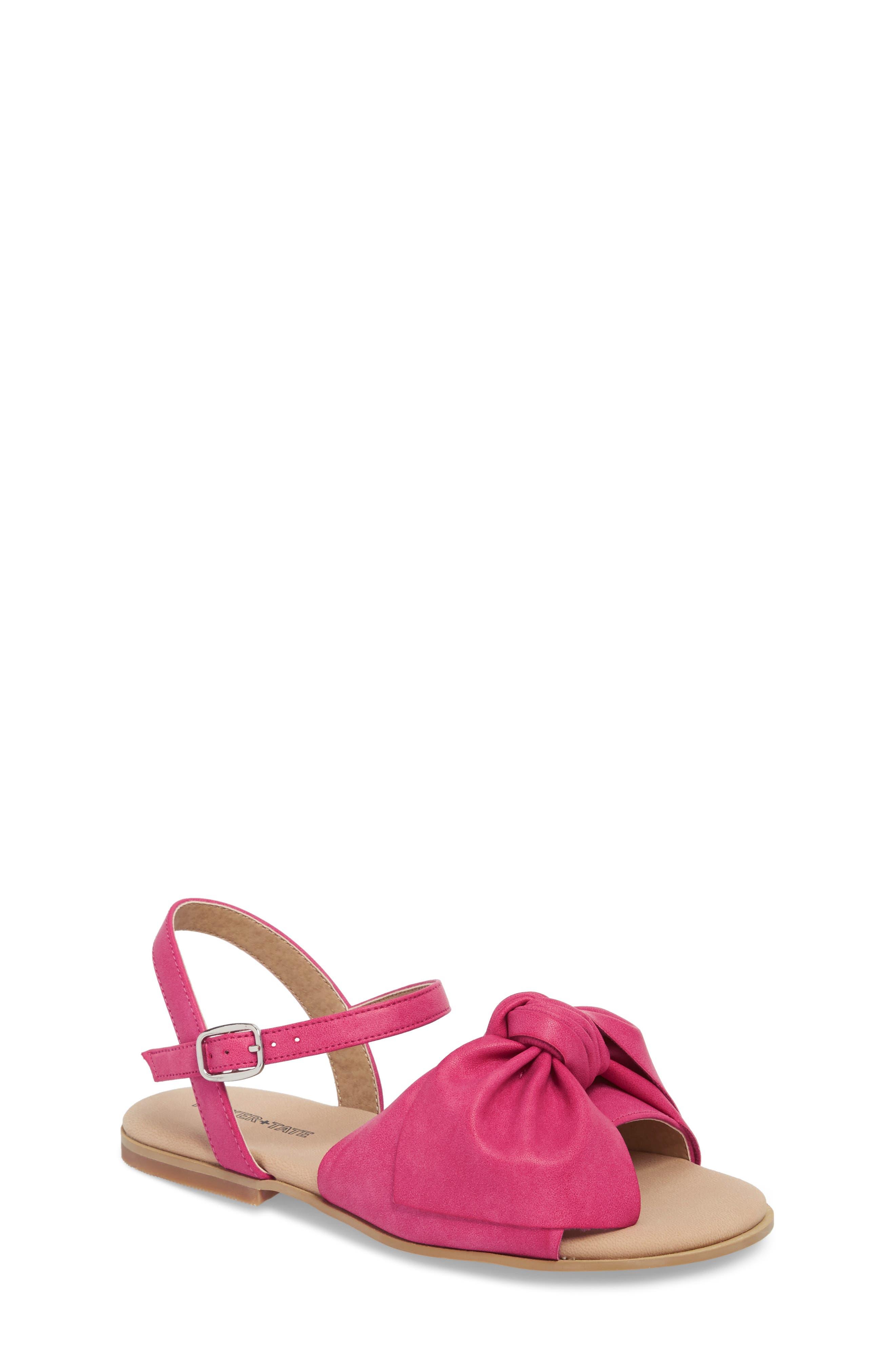 Larissa Knotted Sandal,                         Main,                         color, Fuschia Faux Leather