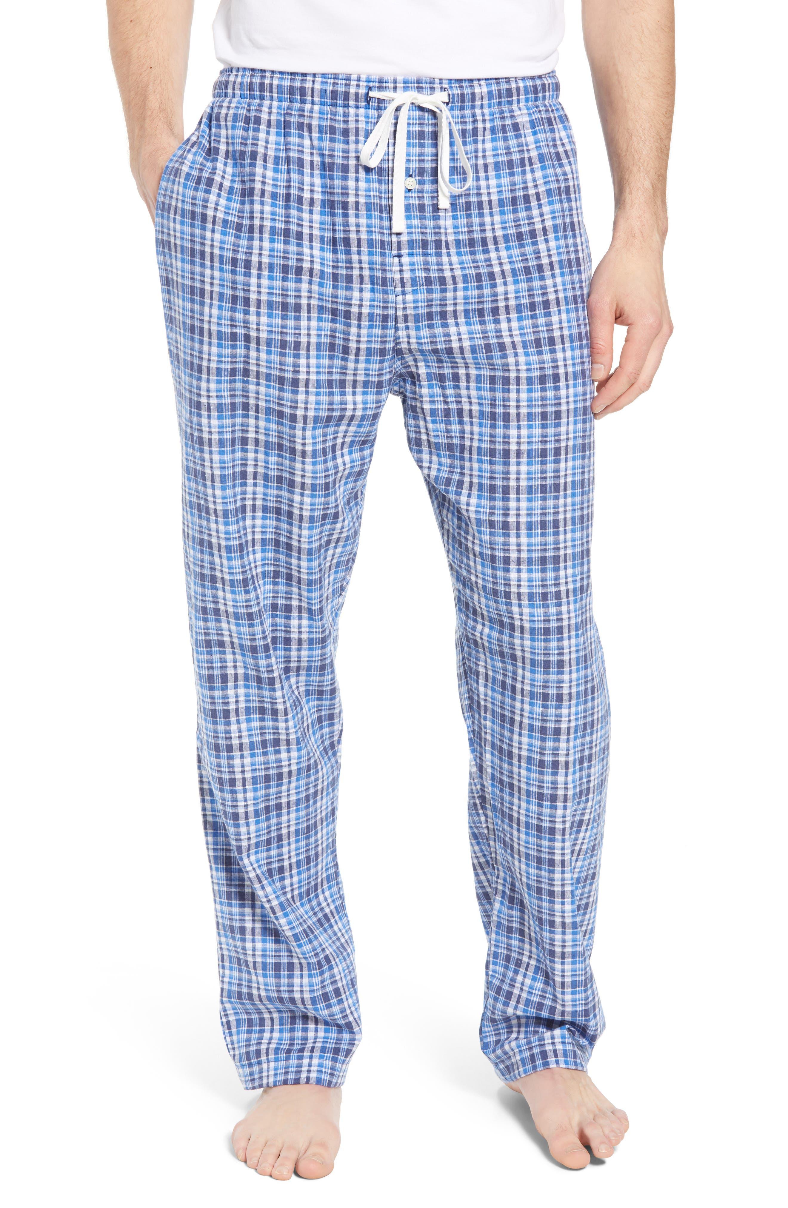 Walker Plaid Cotton & Linen Pajama Pants,                         Main,                         color, Walker Plaid/ Cruise Navy