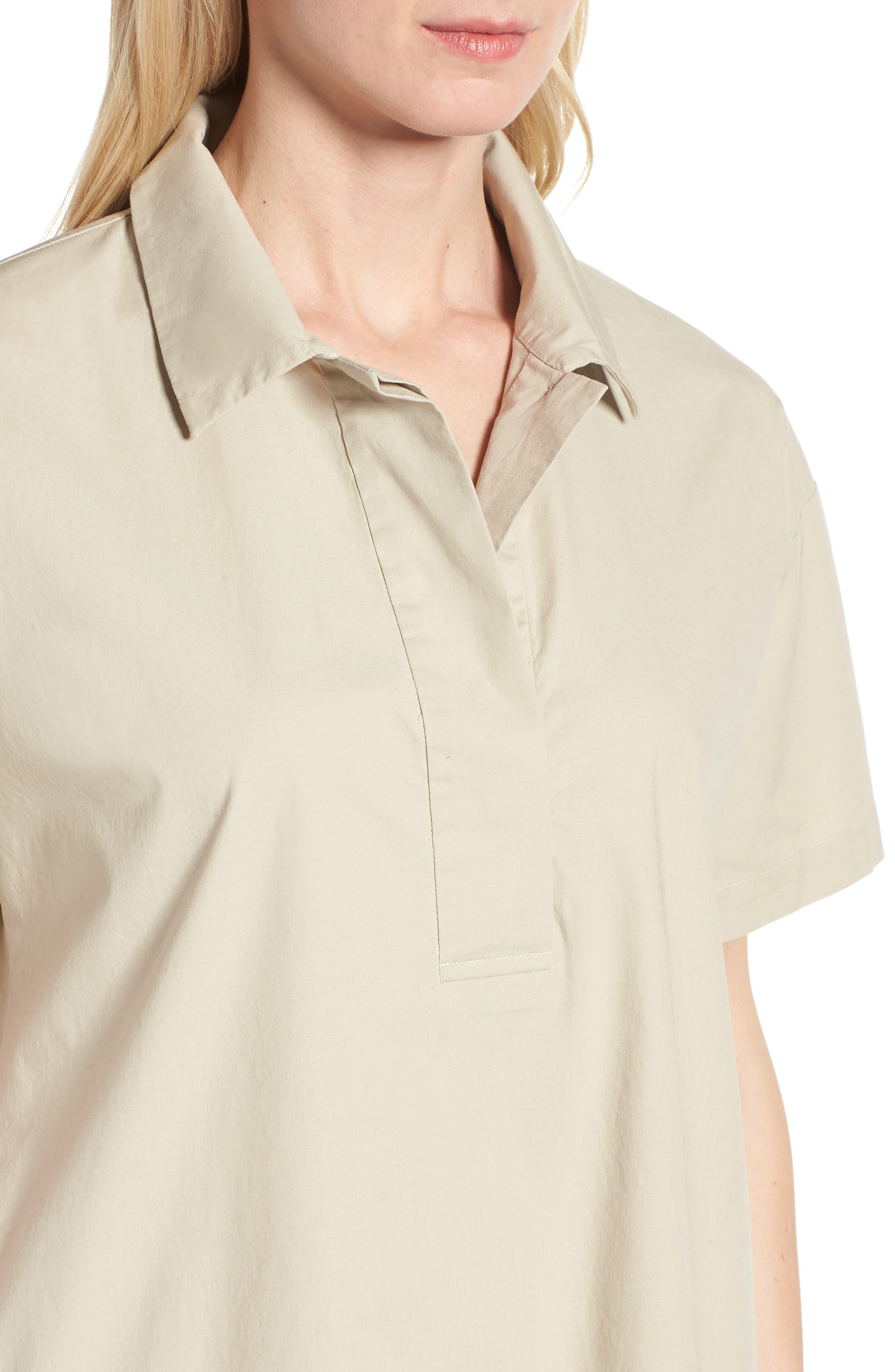 Organic Cotton Poplin Shirtdress,                             Alternate thumbnail 4, color,                             Pebble
