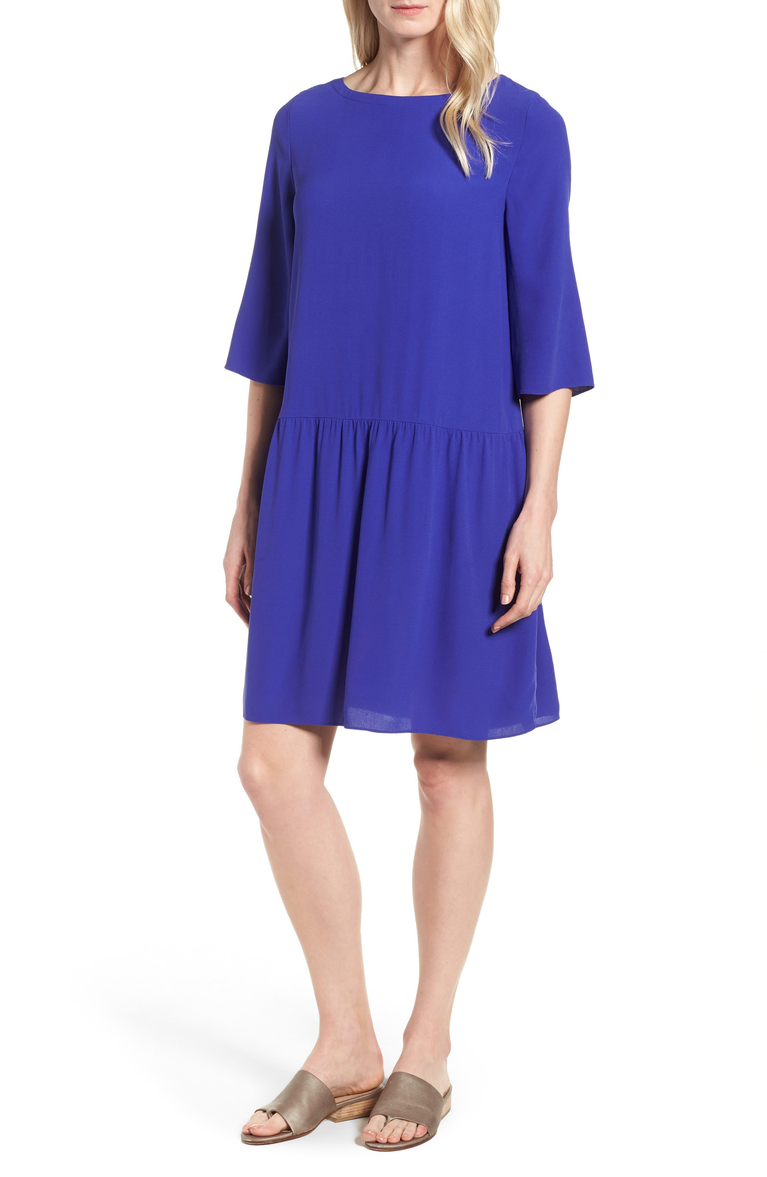 Drop Waist Silk Dress,                         Main,                         color, Blue Violet
