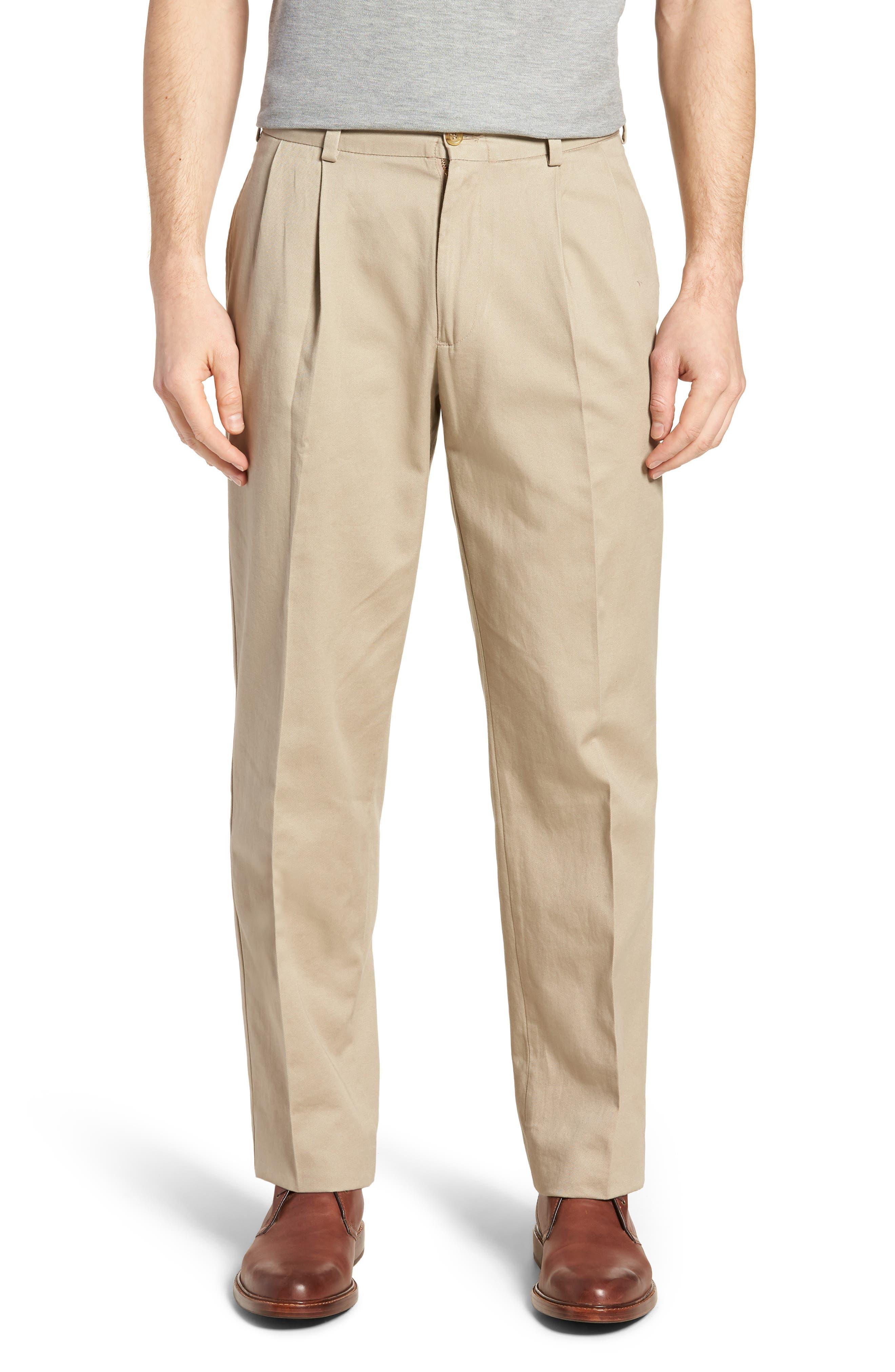 M2 Classic Fit Pleated Vintage Twill Pants,                             Main thumbnail 1, color,                             Khaki