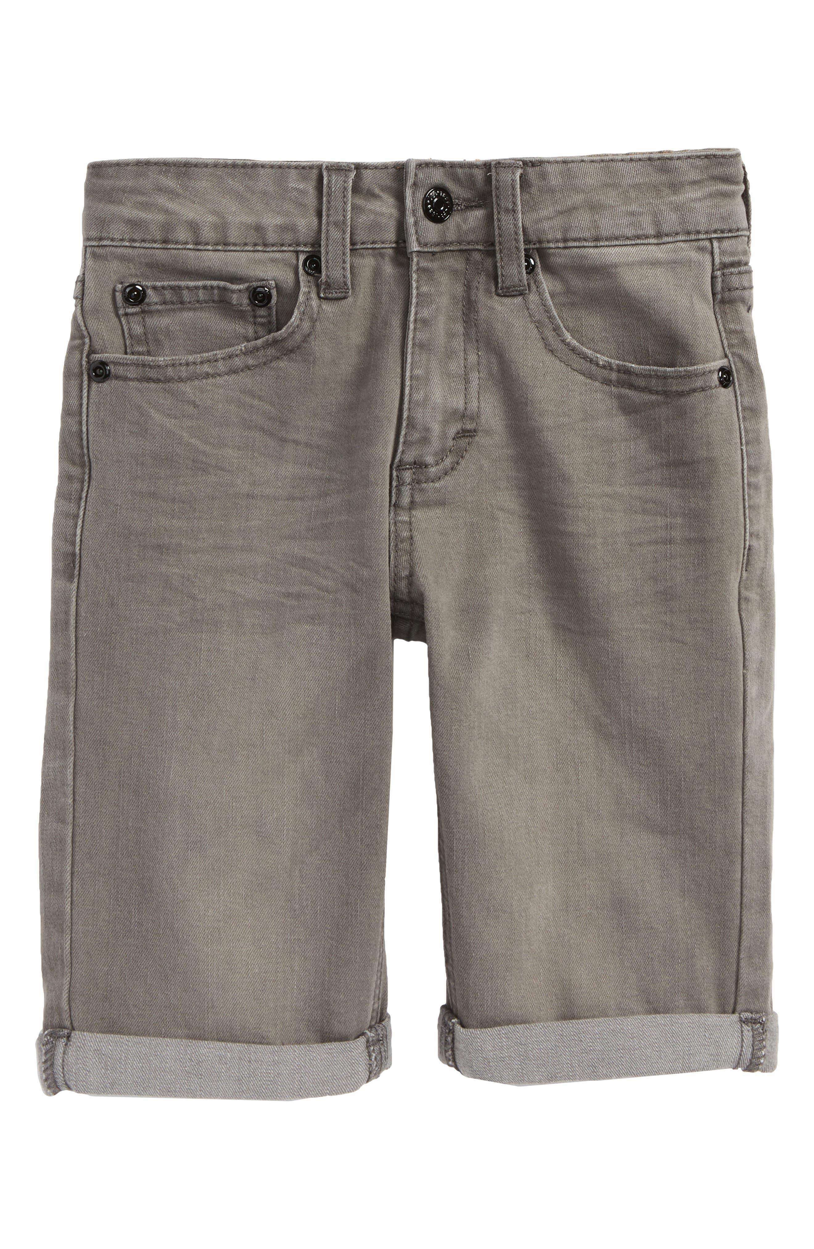 Stretch Denim Roll Cuff Shorts,                         Main,                         color, Wrecked Boat Grey