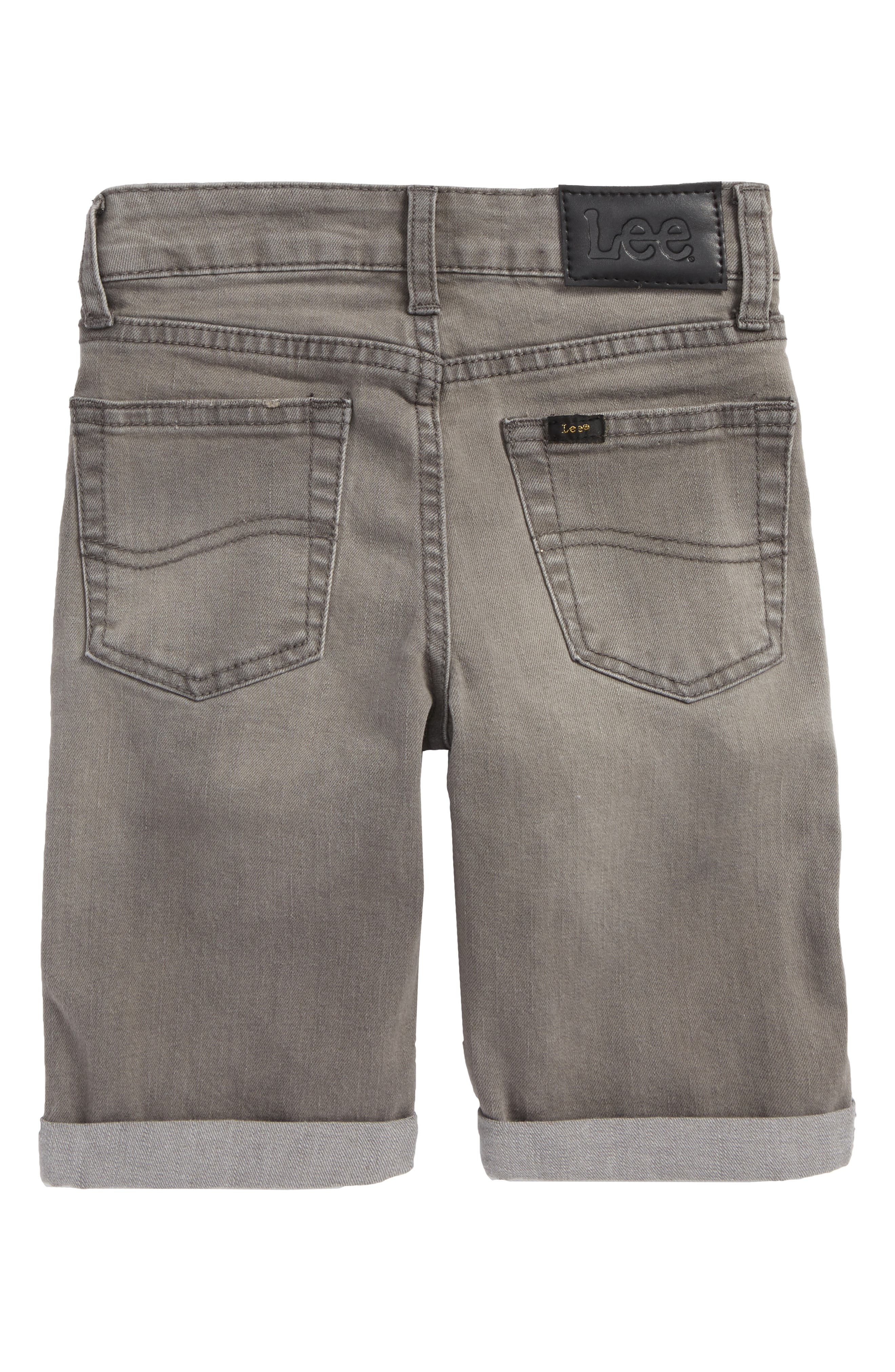 Stretch Denim Roll Cuff Shorts,                             Alternate thumbnail 2, color,                             Wrecked Boat Grey
