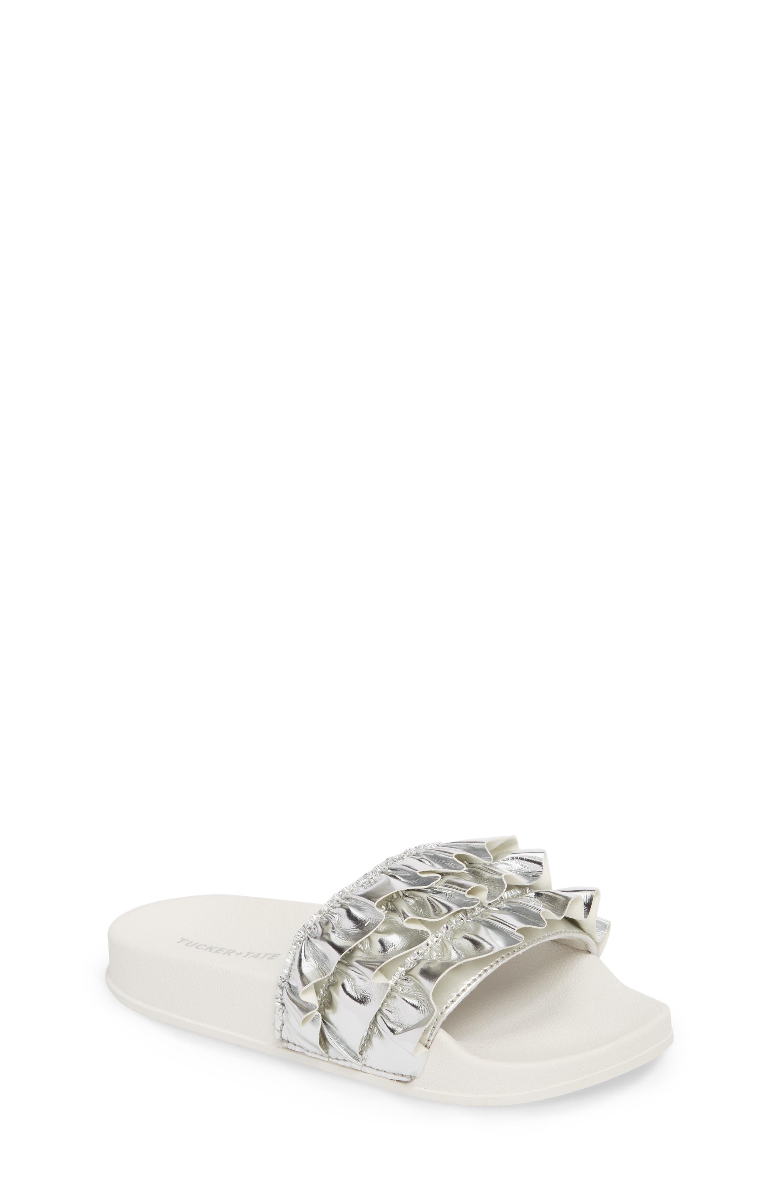 Metallic Ruffle Slide Sandal,                             Main thumbnail 1, color,                             Silver Faux Leather