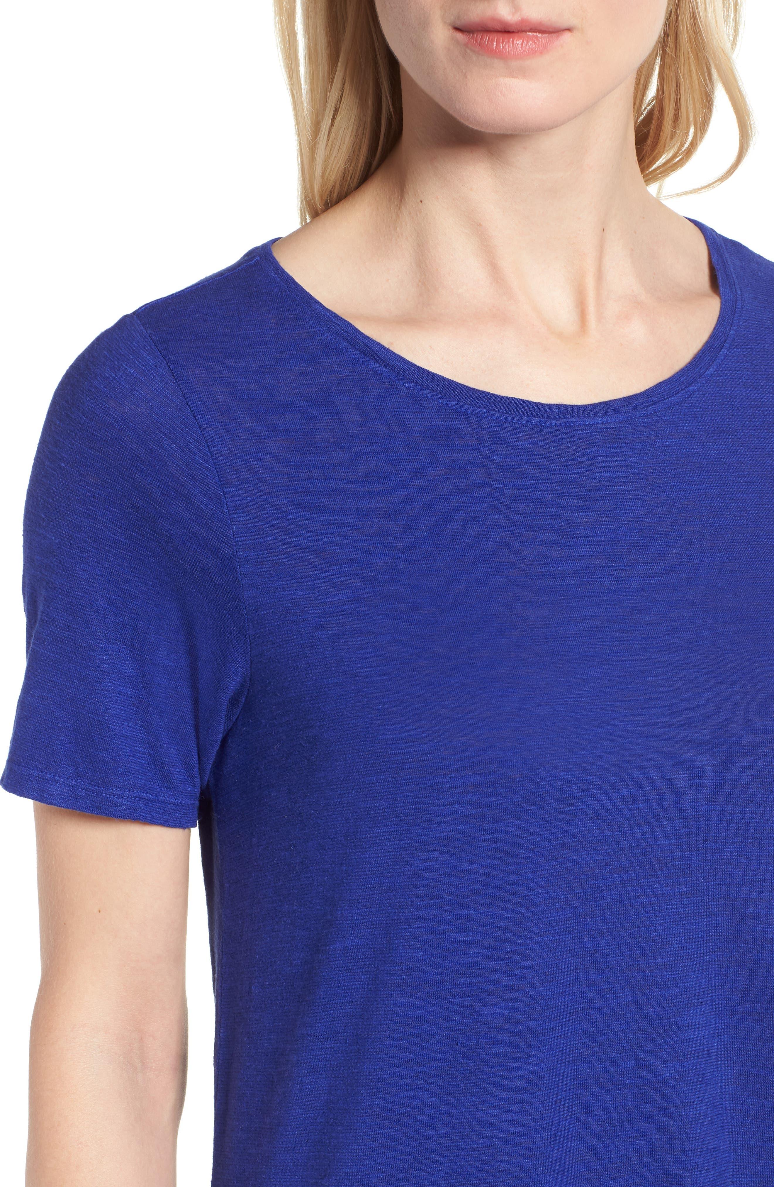Asymmetrical Hemp Blend Shift Dress,                             Alternate thumbnail 4, color,                             Blue Violet