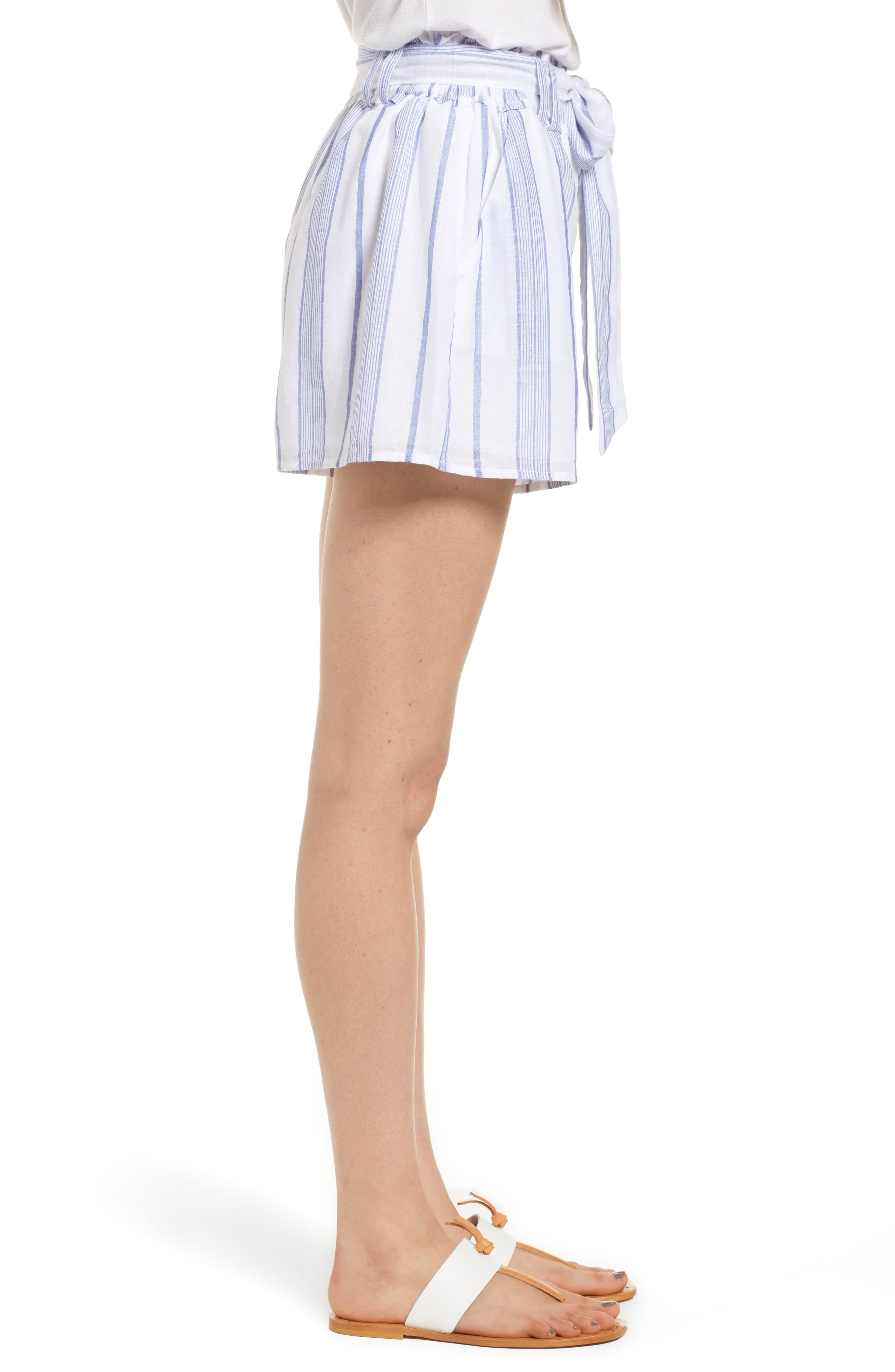 Stripe Tie Waist Shorts,                             Alternate thumbnail 4, color,                             Sky Stripe