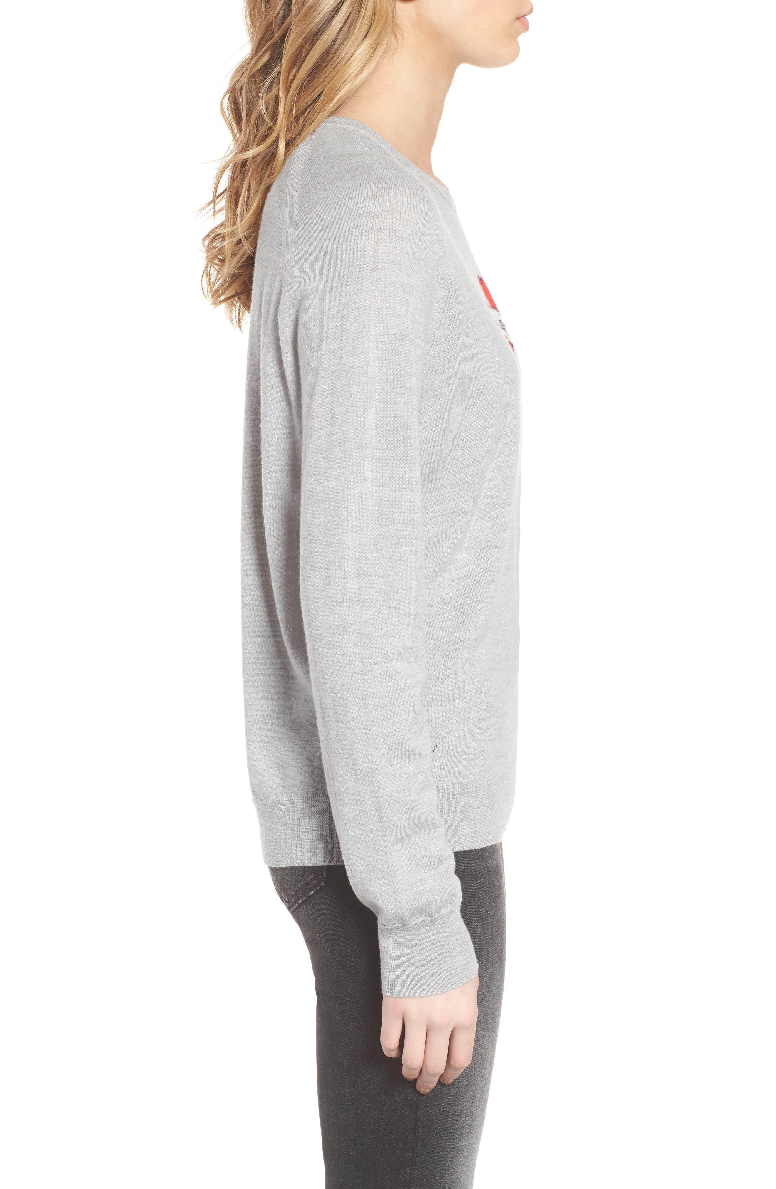 Rime Bis Merino Wool Sweater,                             Alternate thumbnail 3, color,                             Grey