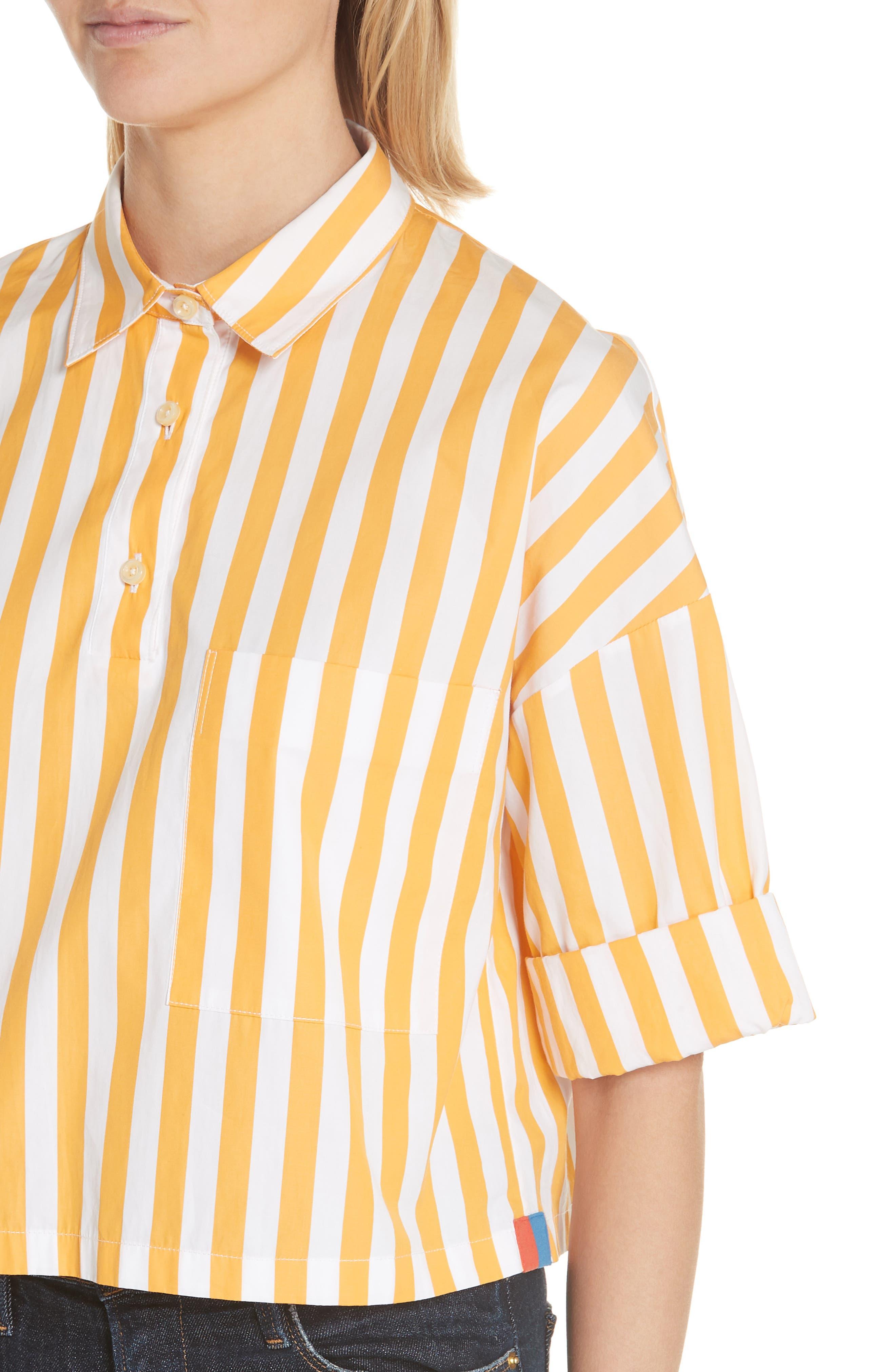 The Keaton Stripe Crop Shirt,                             Alternate thumbnail 4, color,                             White/ Marigold
