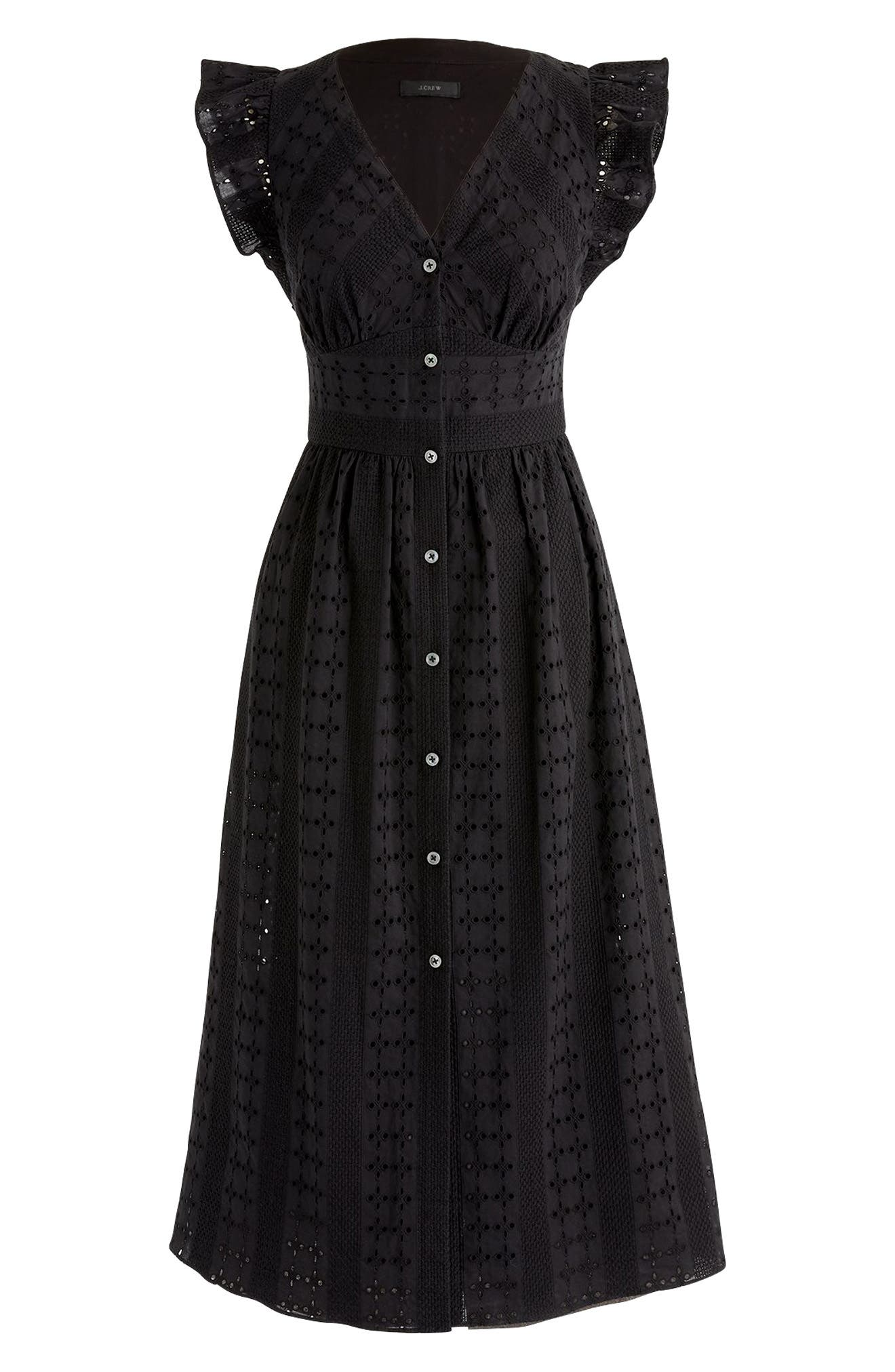 J.Crew Ruffle Sleeve Eyelet Dress,                             Alternate thumbnail 3, color,                             Black