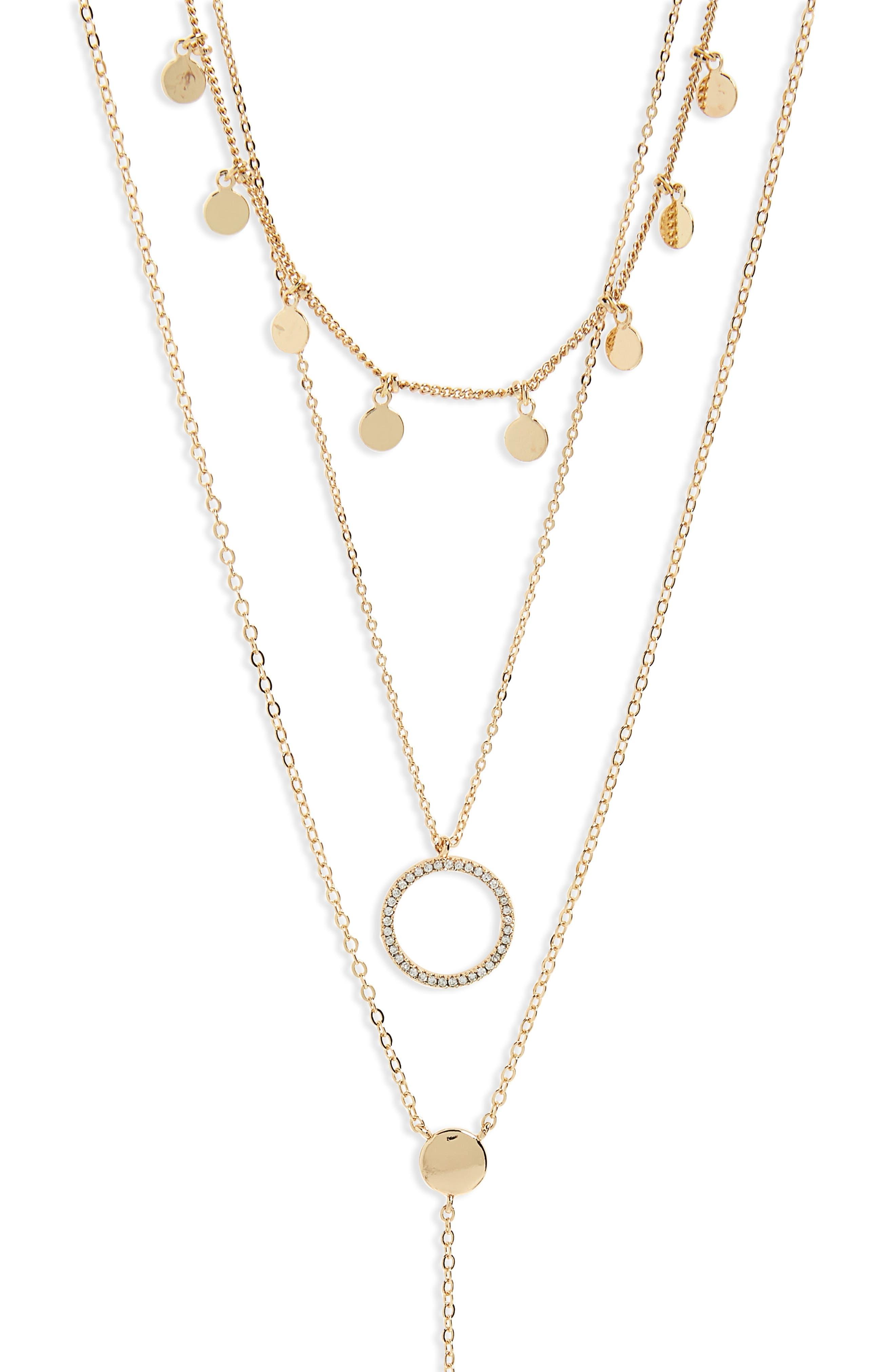 Disks & Circle Layered Necklace,                             Alternate thumbnail 2, color,                             Gold