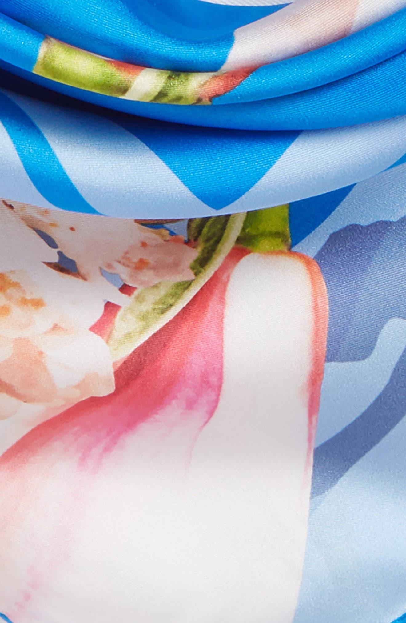 Harmony Square Silk Scarf,                             Alternate thumbnail 4, color,                             Bright Blue