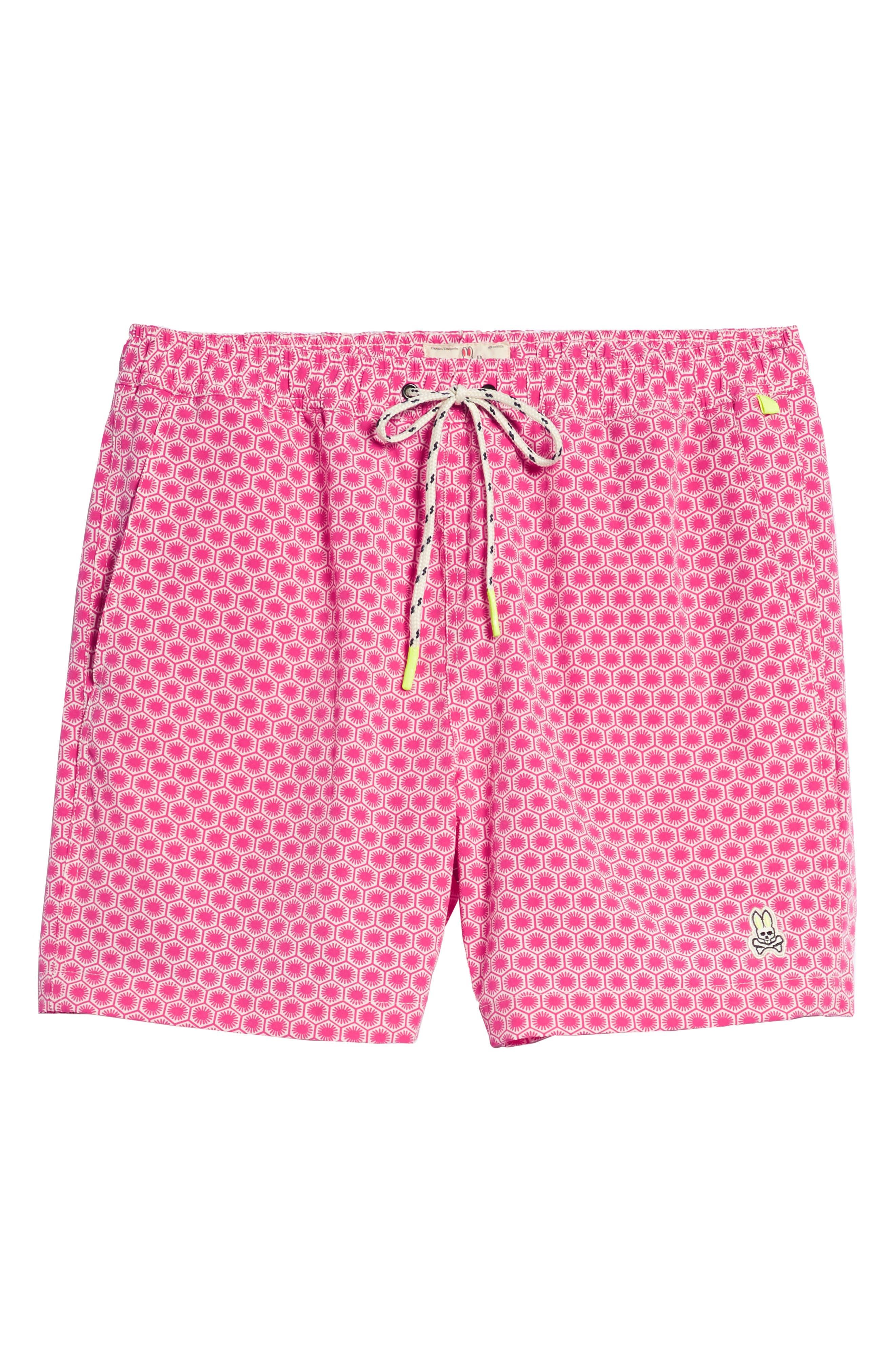 Psycho Bunny Japanese Honeycomb Swim Trunks,                             Alternate thumbnail 6, color,                             Raspberry