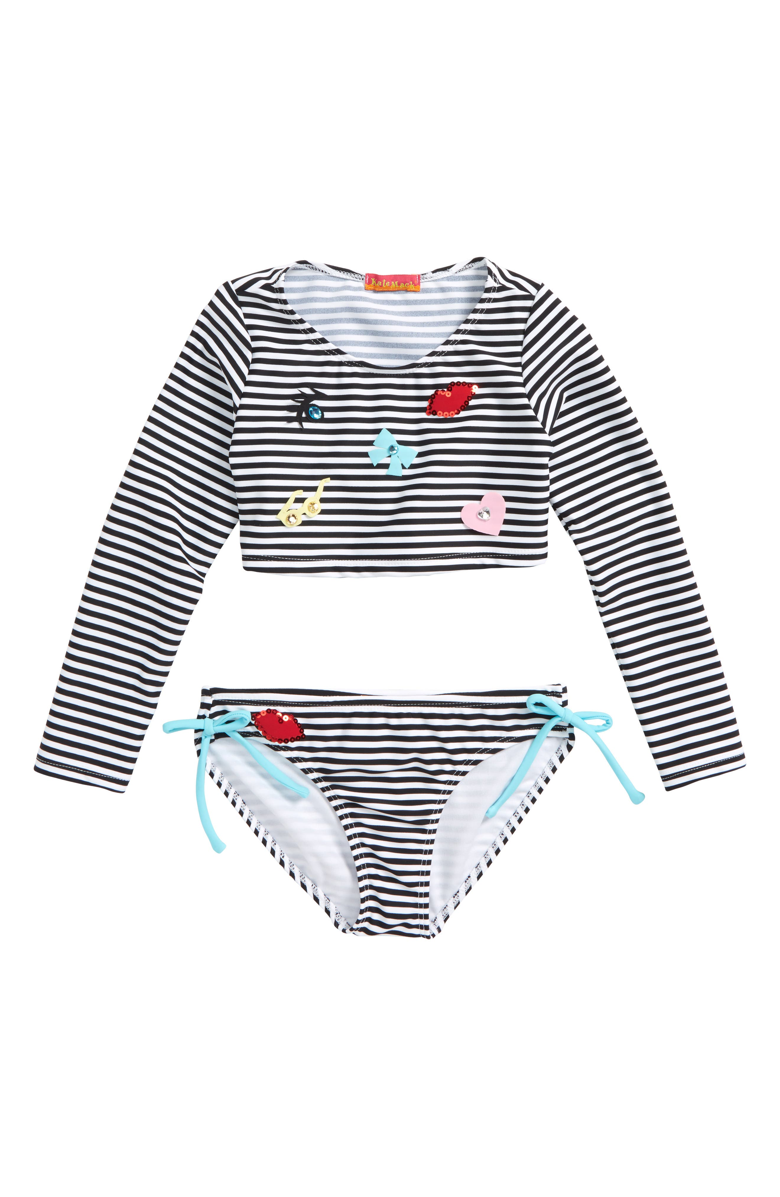 Stripe Two-Piece Rashguard Swimsuit,                         Main,                         color, Black/ White