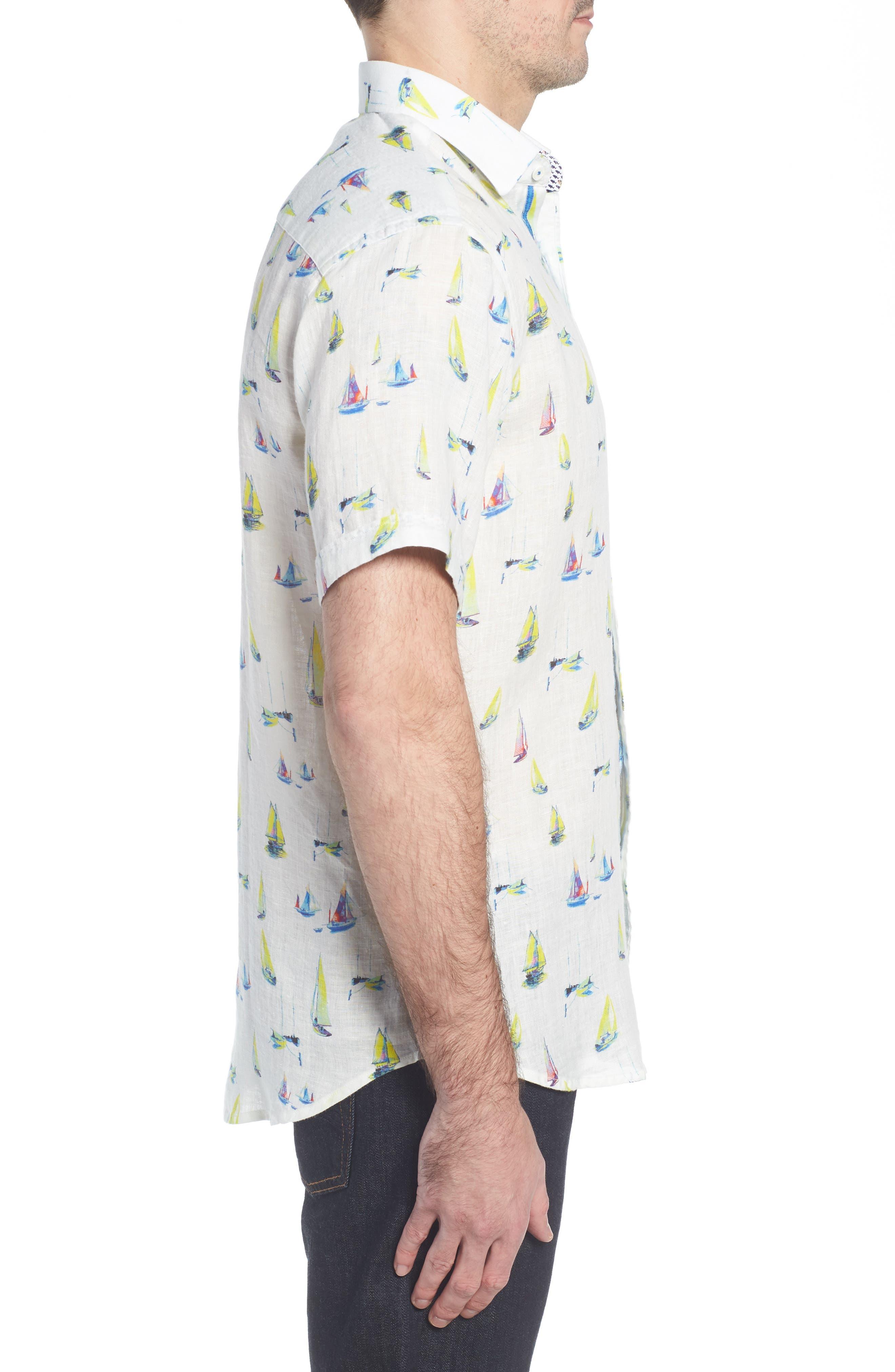 Shaped Fit Sailboat Linen Sport Shirt,                             Alternate thumbnail 3, color,                             Chalk
