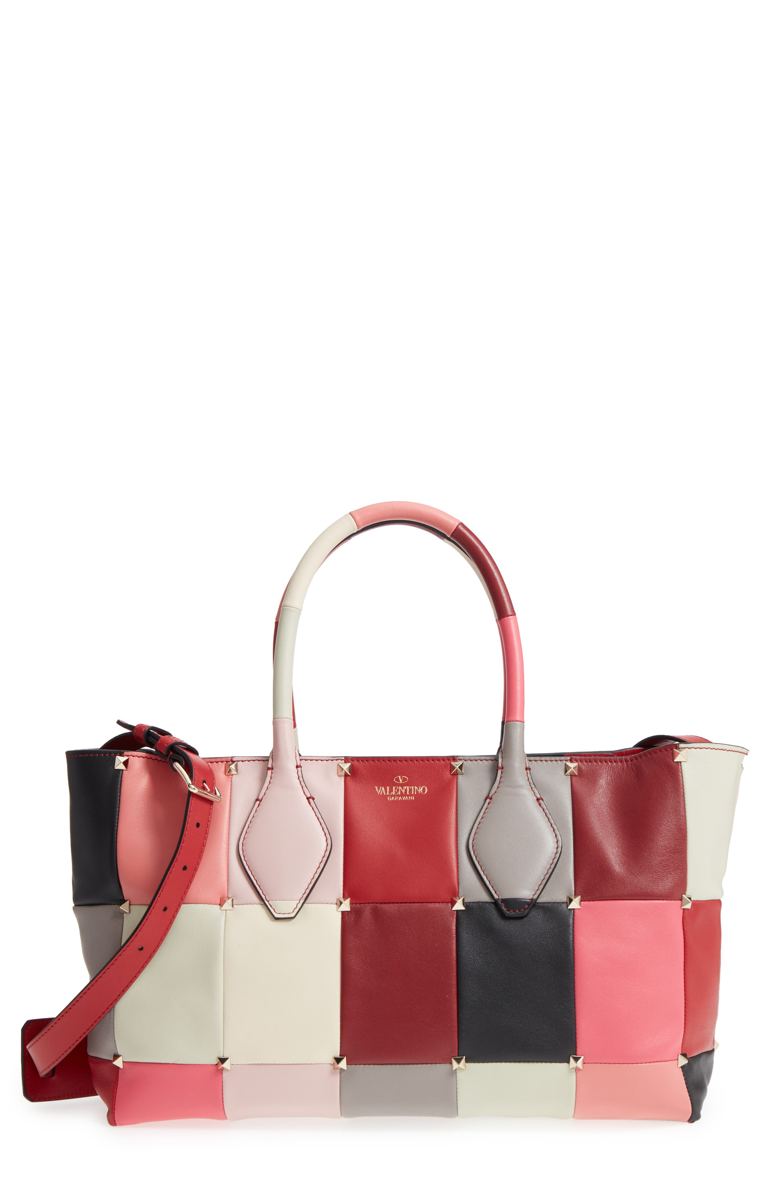 Puzzlestud Small Patchwork Leather Tote,                             Main thumbnail 1, color,                             Rose Multicolor