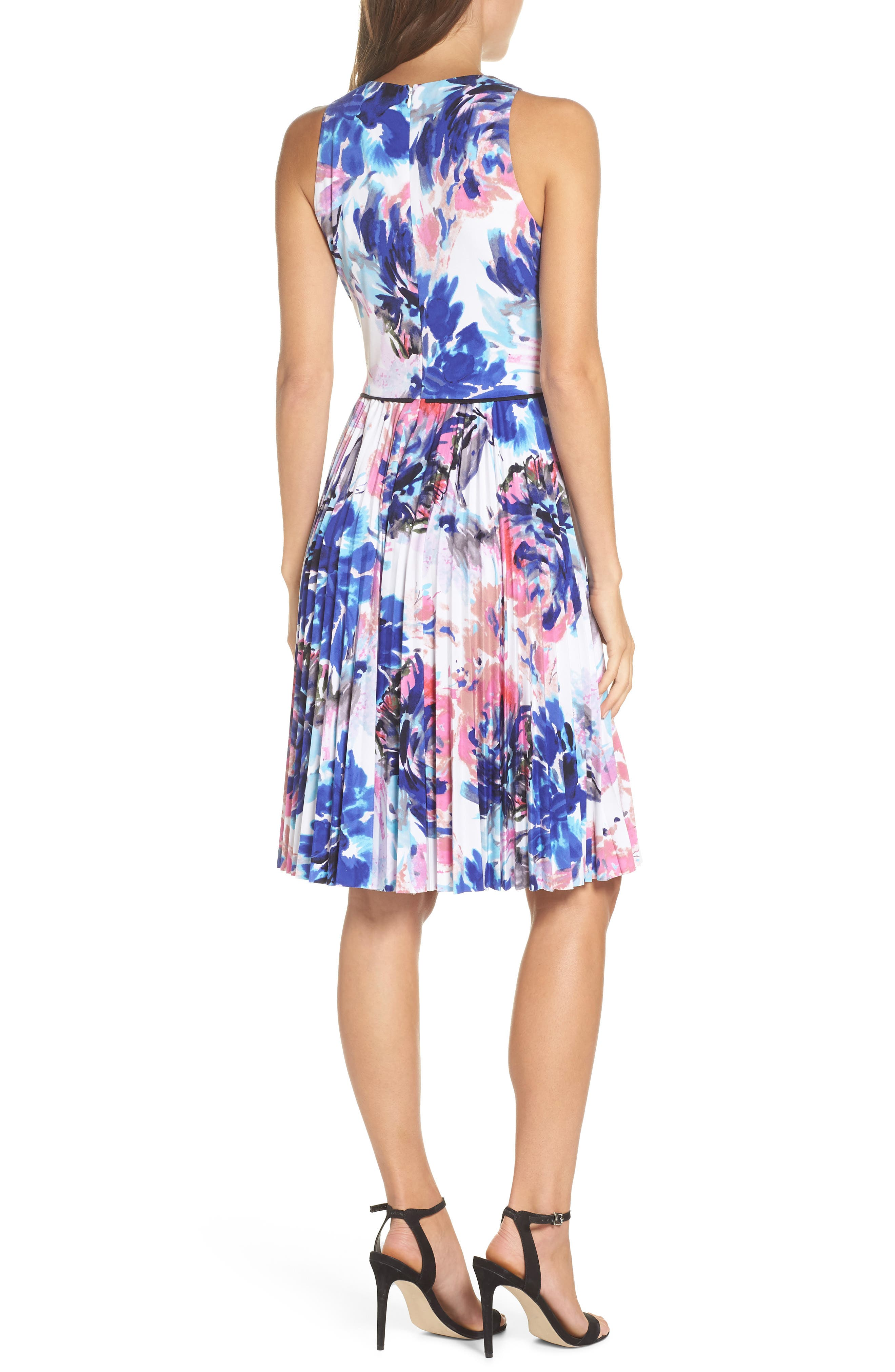 Floral Pleated Fit & Flare Dress,                             Alternate thumbnail 2, color,                             Soft White Royal