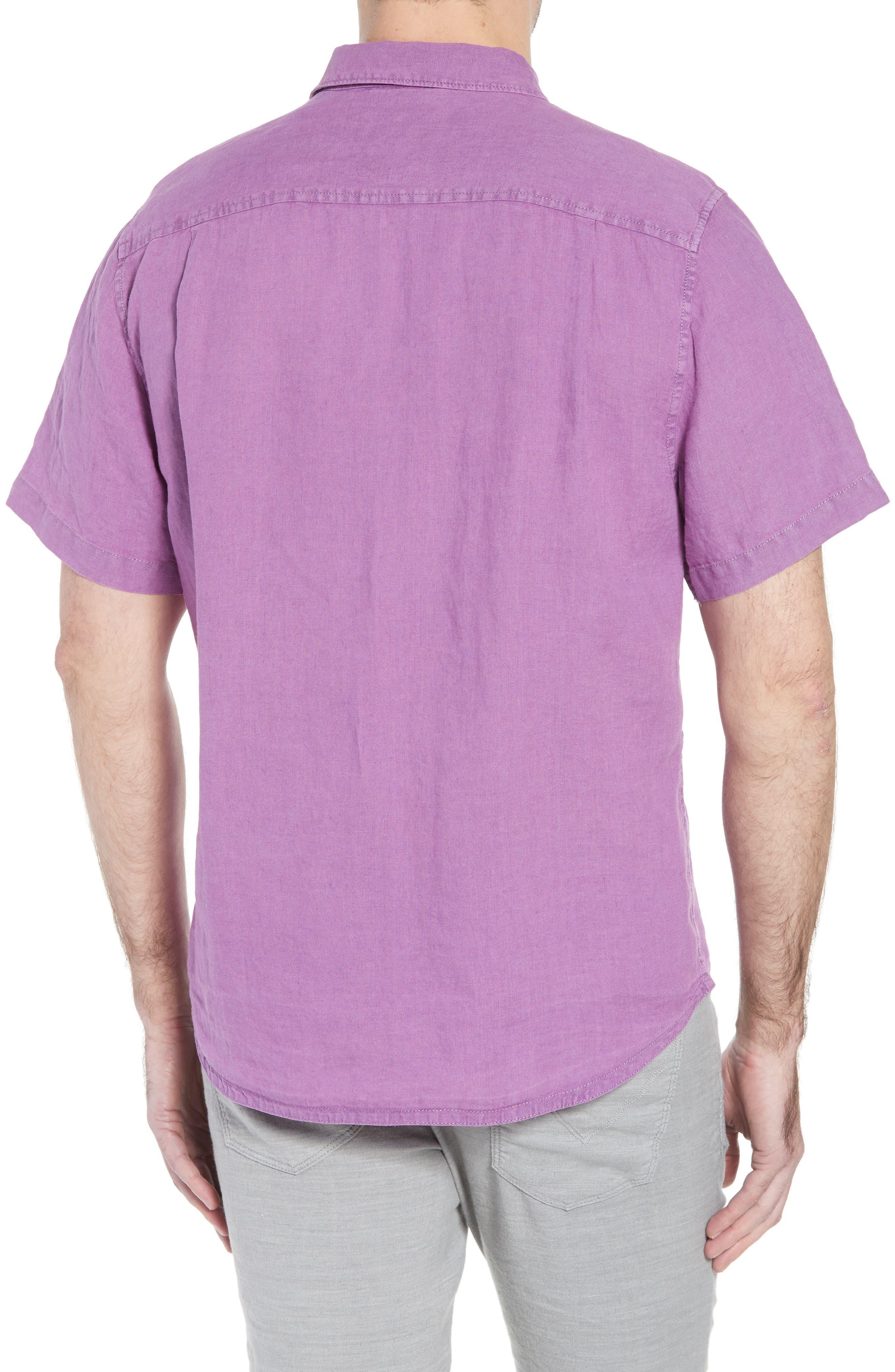 Seaspray Breezer Linen Sport Shirt,                             Alternate thumbnail 3, color,                             Sparkling Grape