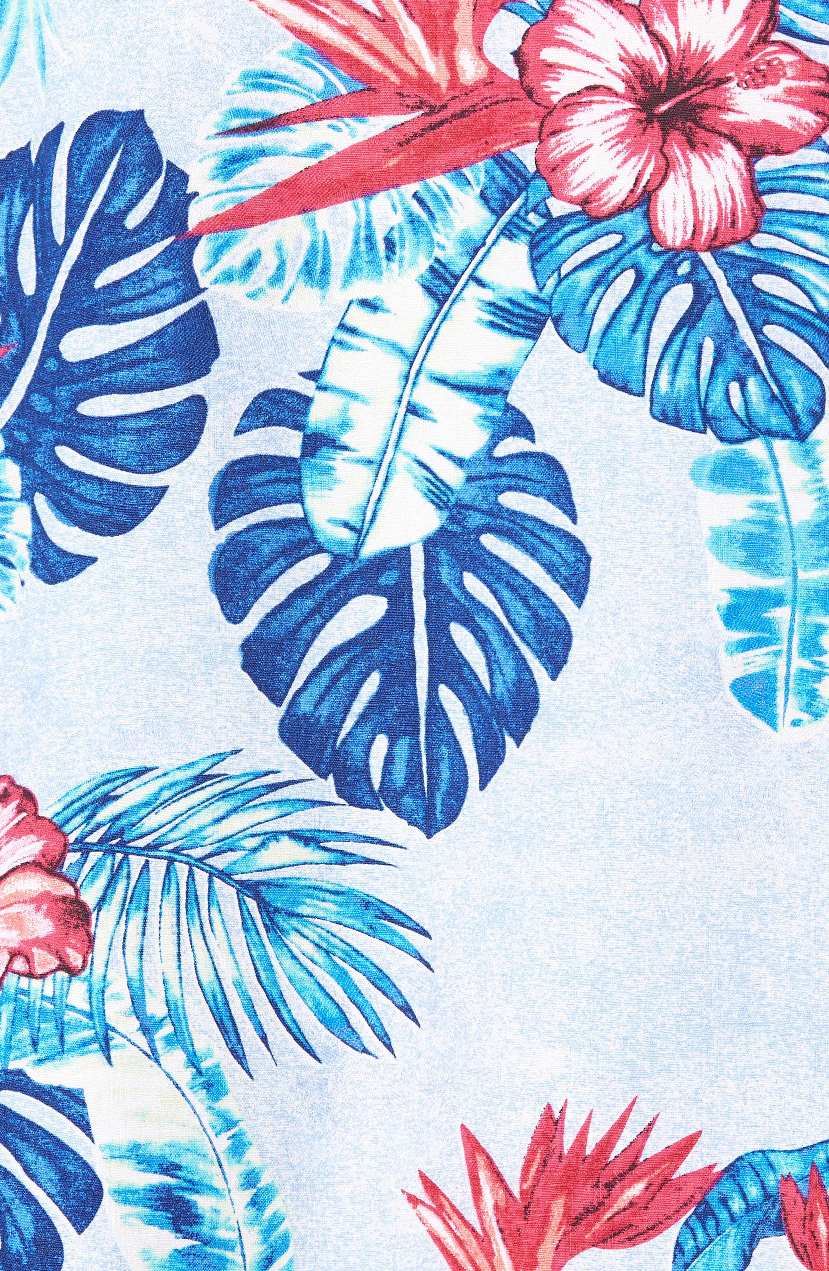 Casa Rosa Floral Print Silk Shirt,                             Alternate thumbnail 5, color,                             Light Sky