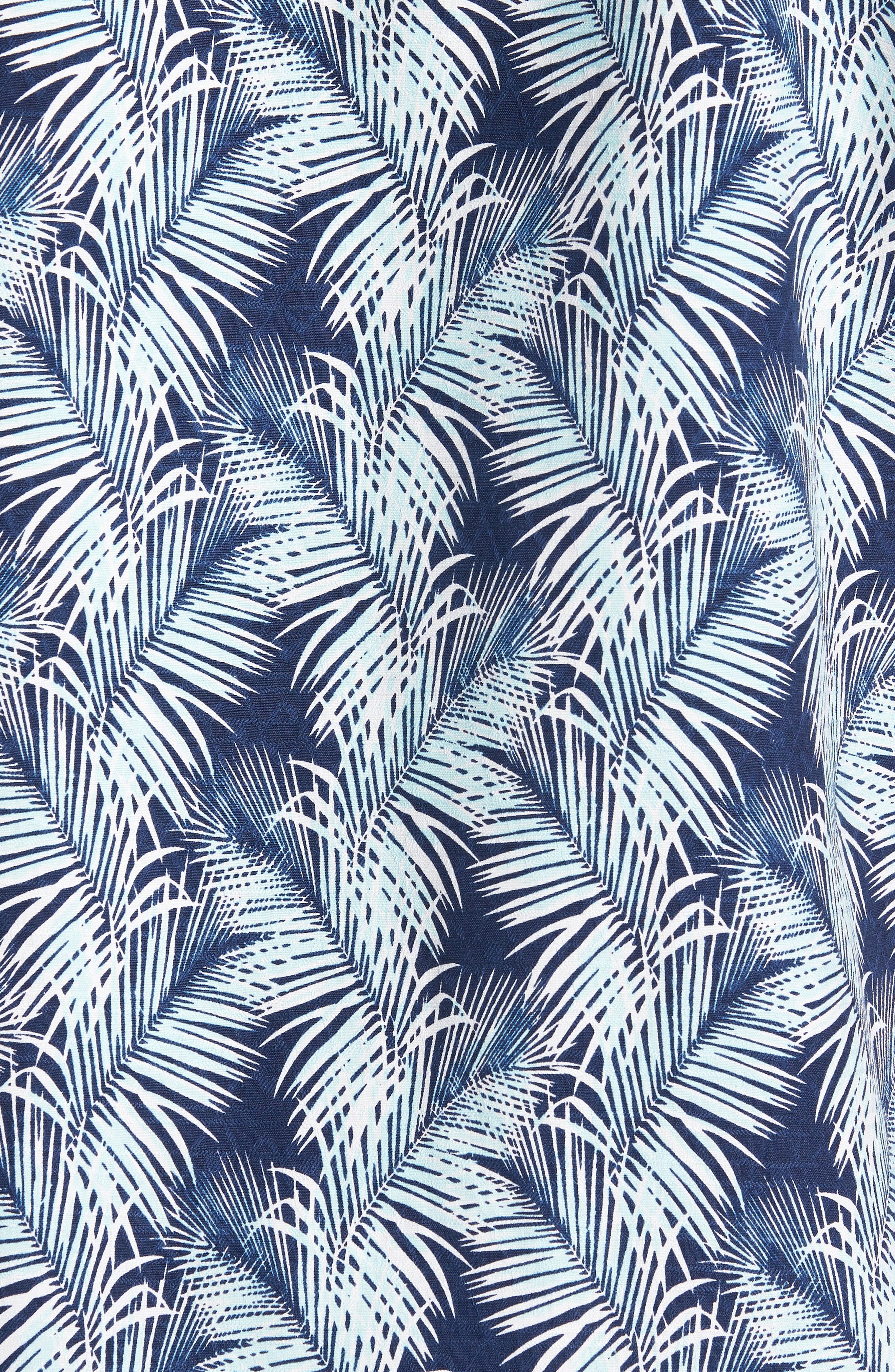 Palms of Tulum Silk Camp Shirt,                             Alternate thumbnail 5, color,                             Ocean Deep