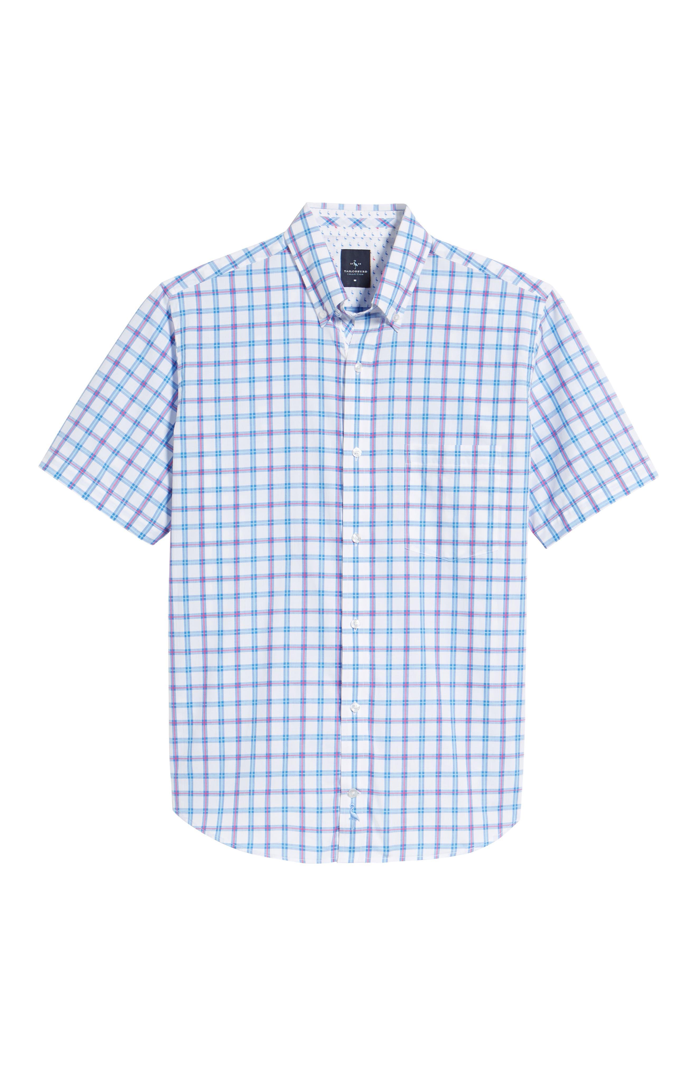 Arman Regular Fit Windowpane Sport Shirt,                             Alternate thumbnail 6, color,                             Light Blue