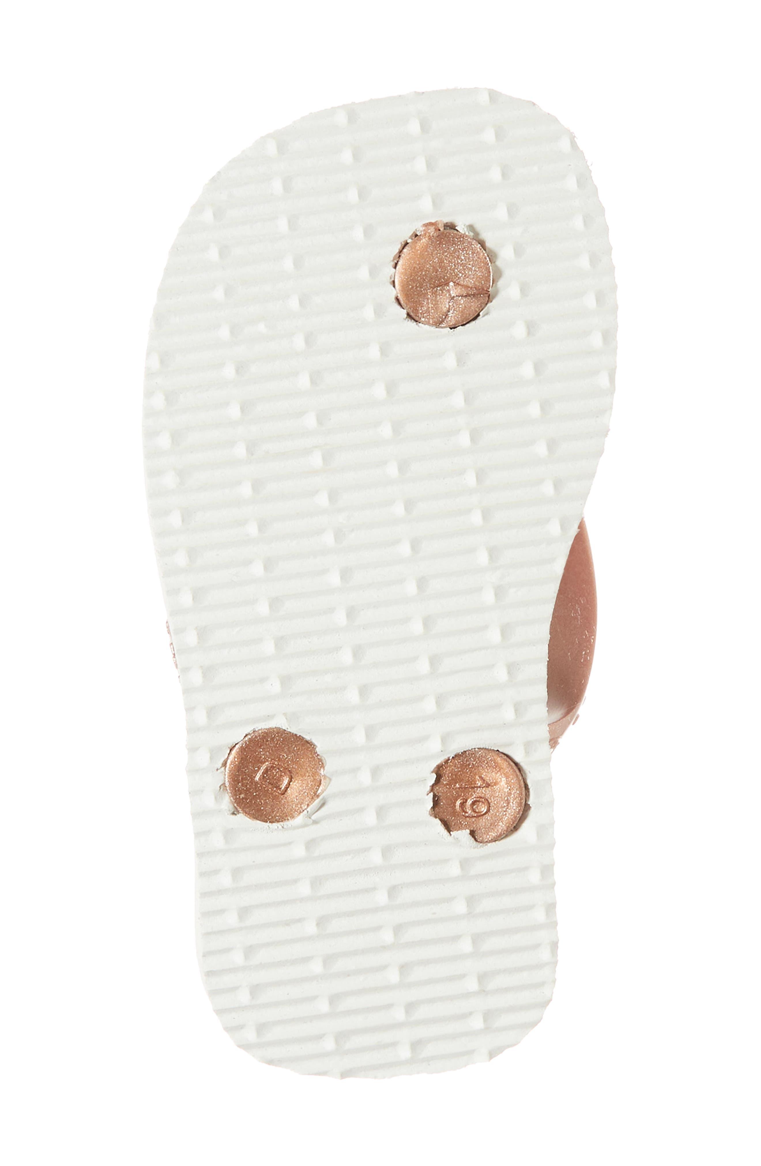 Baby Chic Metallic Flip Flop,                             Alternate thumbnail 6, color,                             White/ Golden Blush