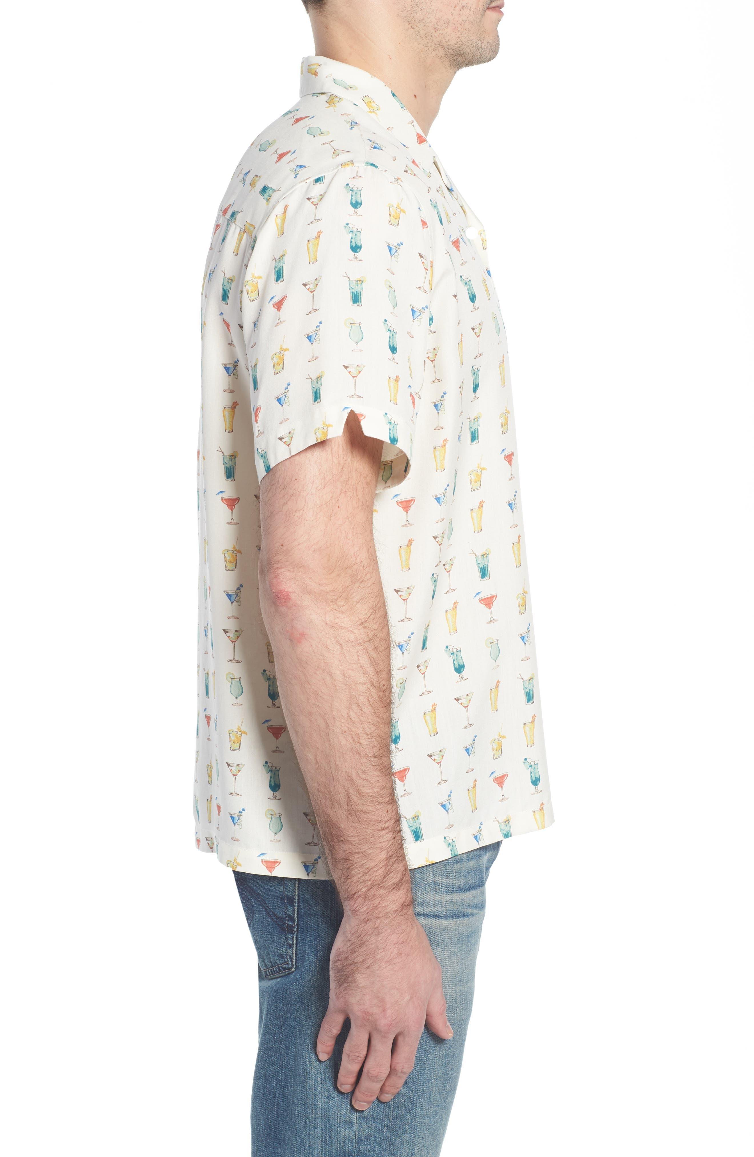 Mixalot Trim Fit Silk Blend Camp Shirt,                             Alternate thumbnail 4, color,                             Off White