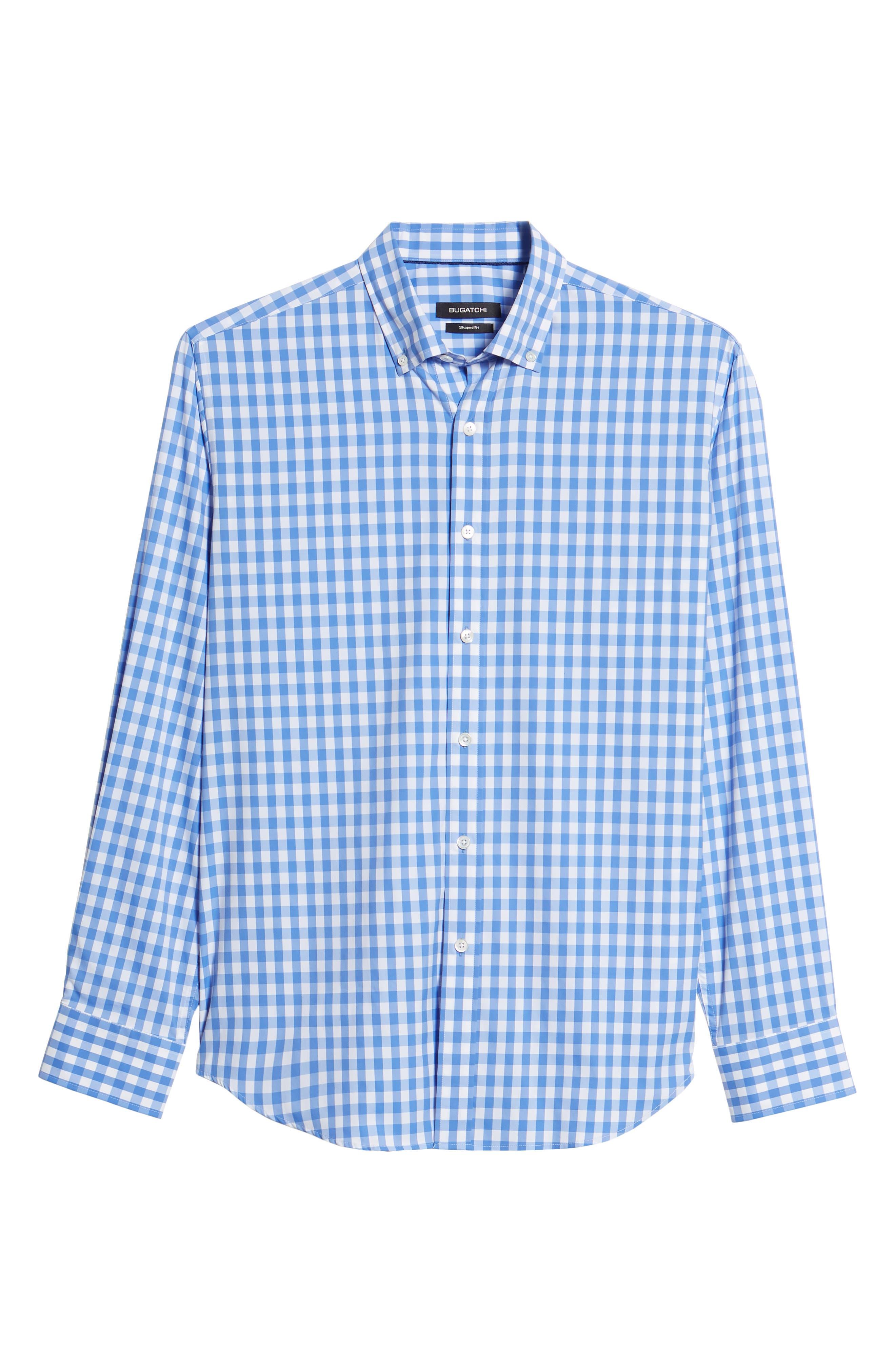 Shaped Fit Gingham Sport Shirt,                             Alternate thumbnail 6, color,                             Classic Blue